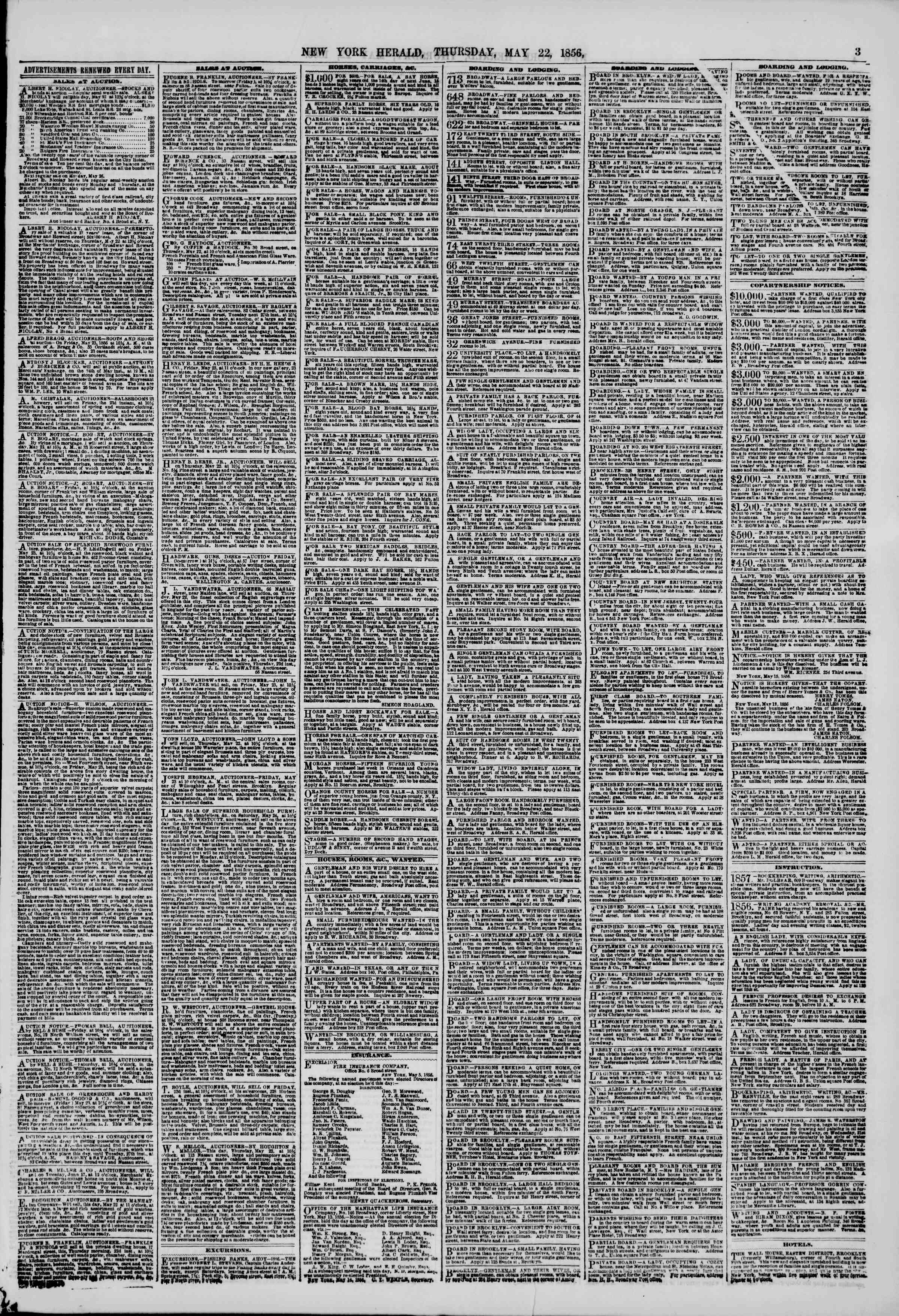 Newspaper of The New York Herald dated May 22, 1856 Page 3