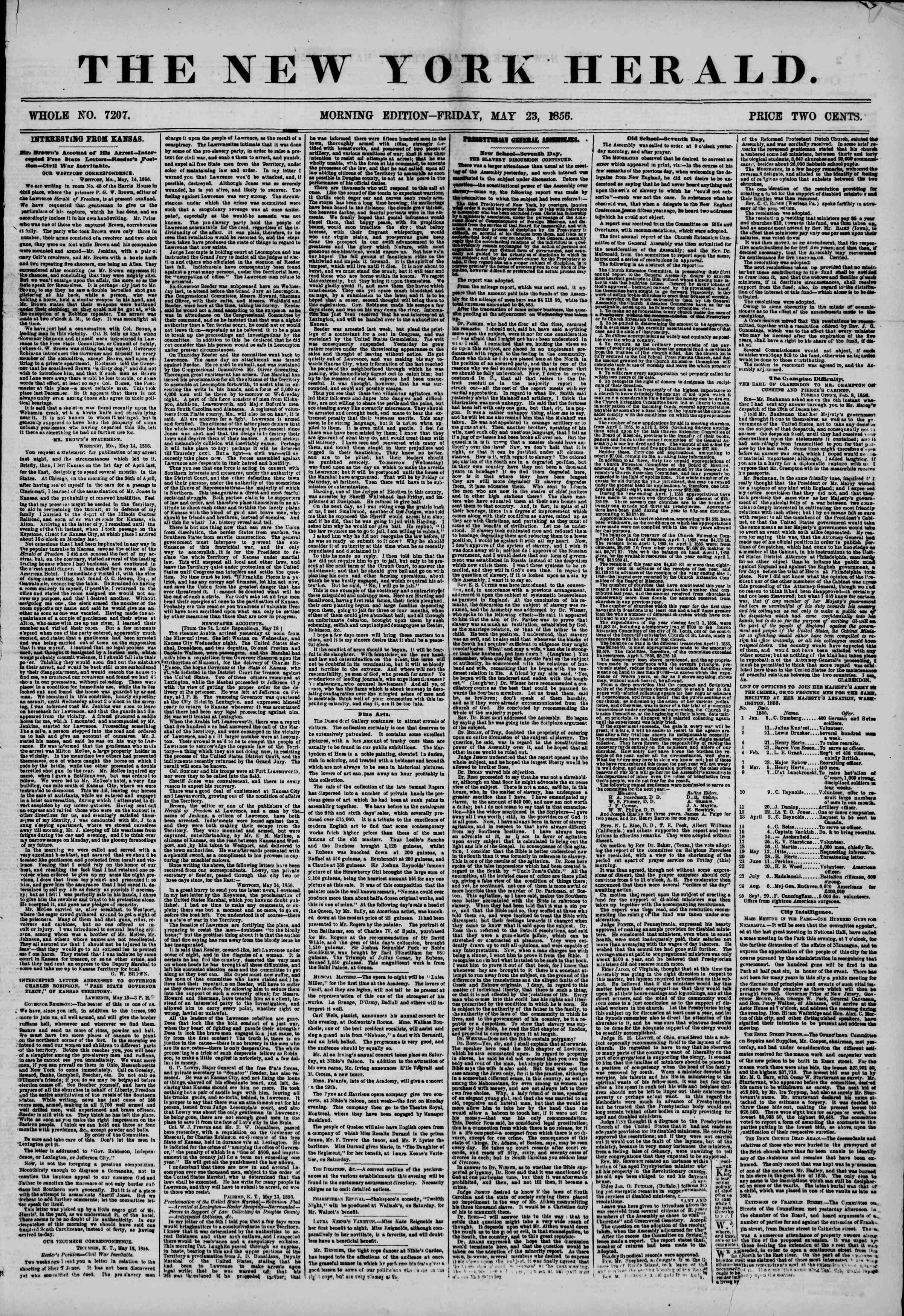 Newspaper of The New York Herald dated May 23, 1856 Page 1