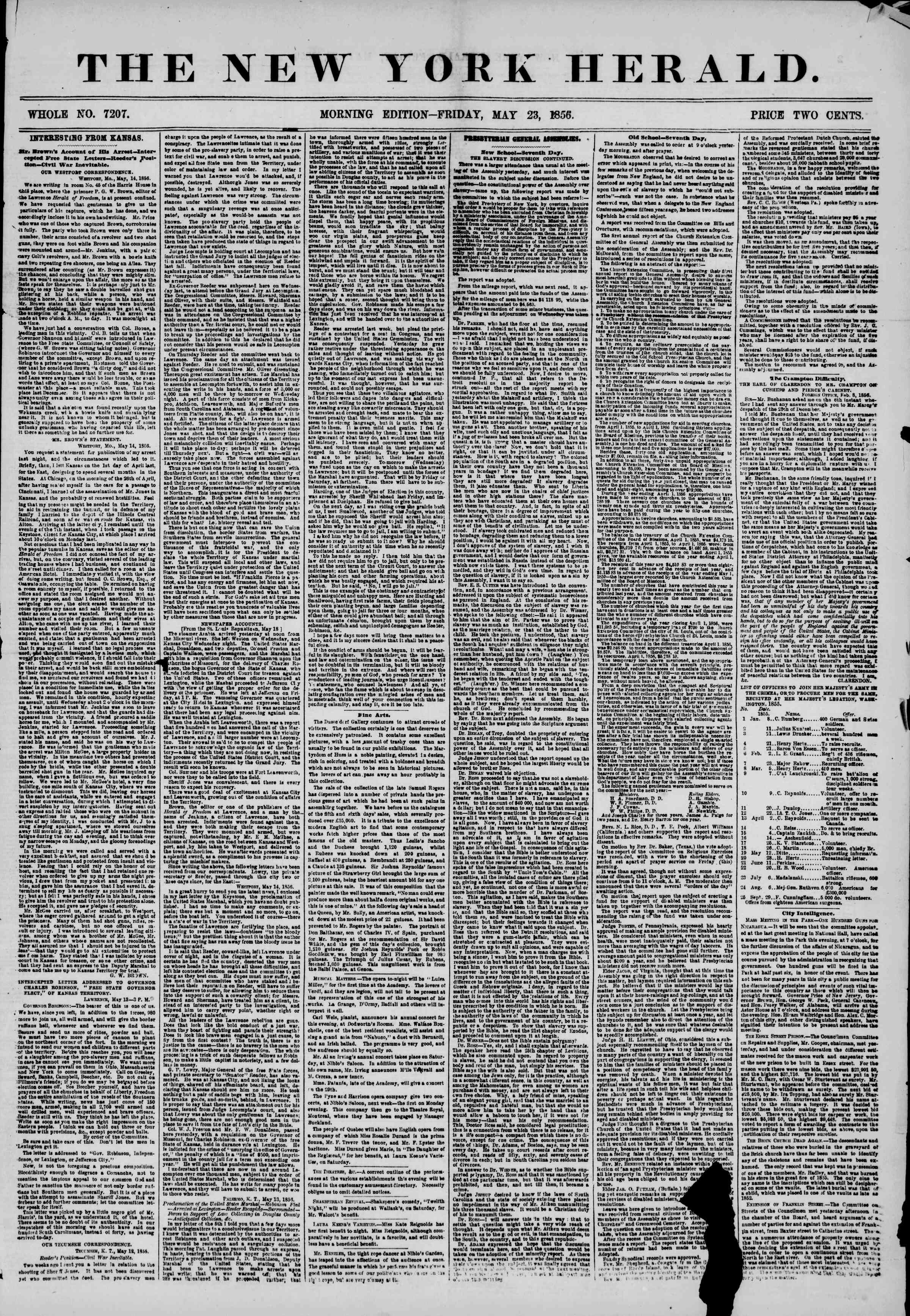 Newspaper of The New York Herald dated May 23, 1856 Page 2