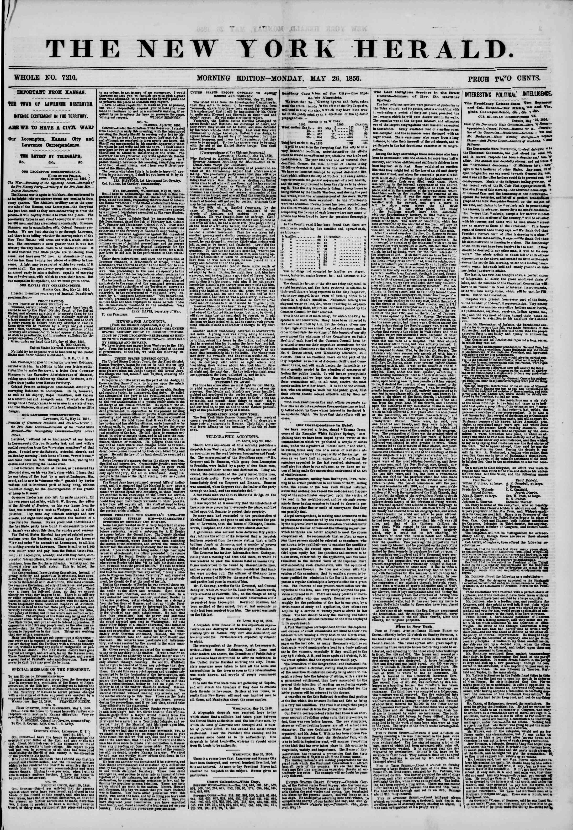 Newspaper of The New York Herald dated May 26, 1856 Page 1