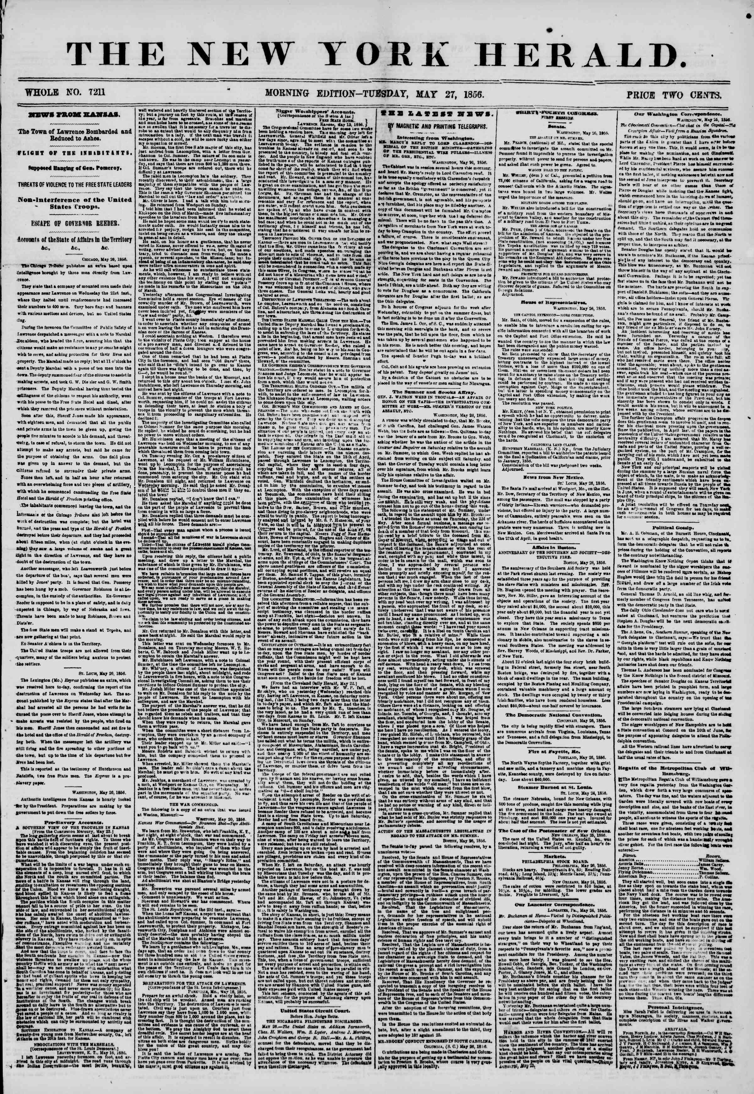 Newspaper of The New York Herald dated May 27, 1856 Page 1