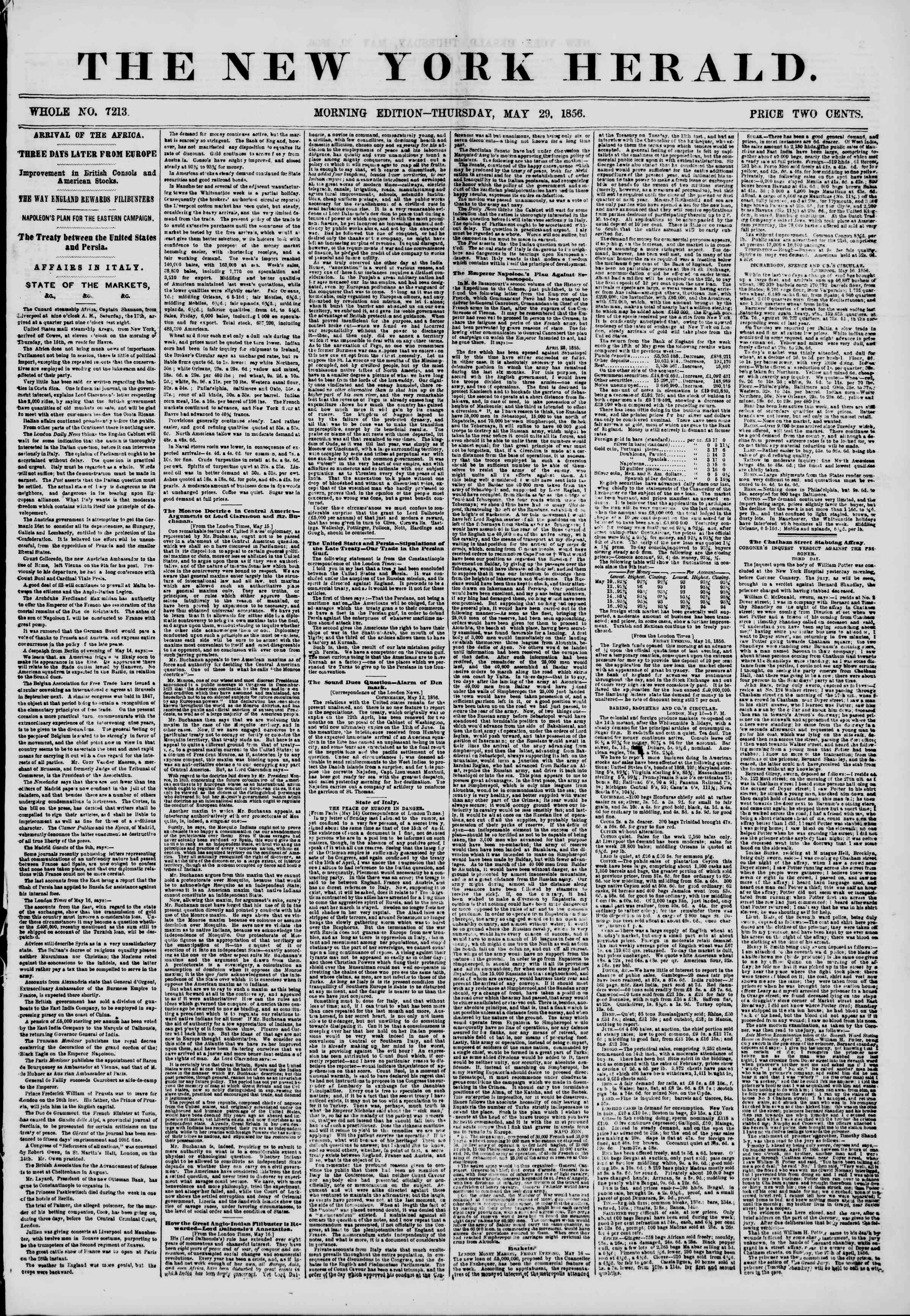 Newspaper of The New York Herald dated May 29, 1856 Page 1