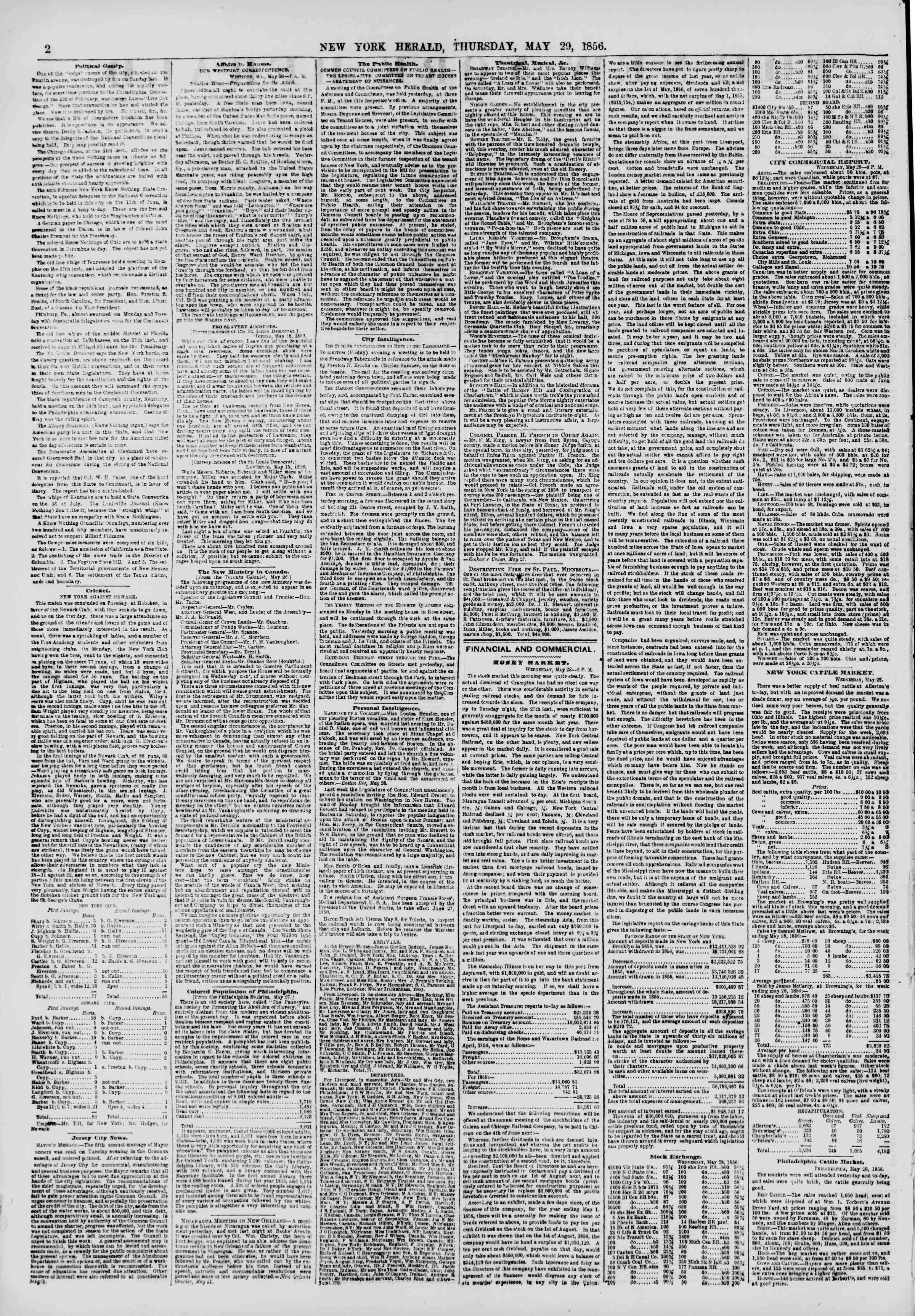 Newspaper of The New York Herald dated May 29, 1856 Page 2