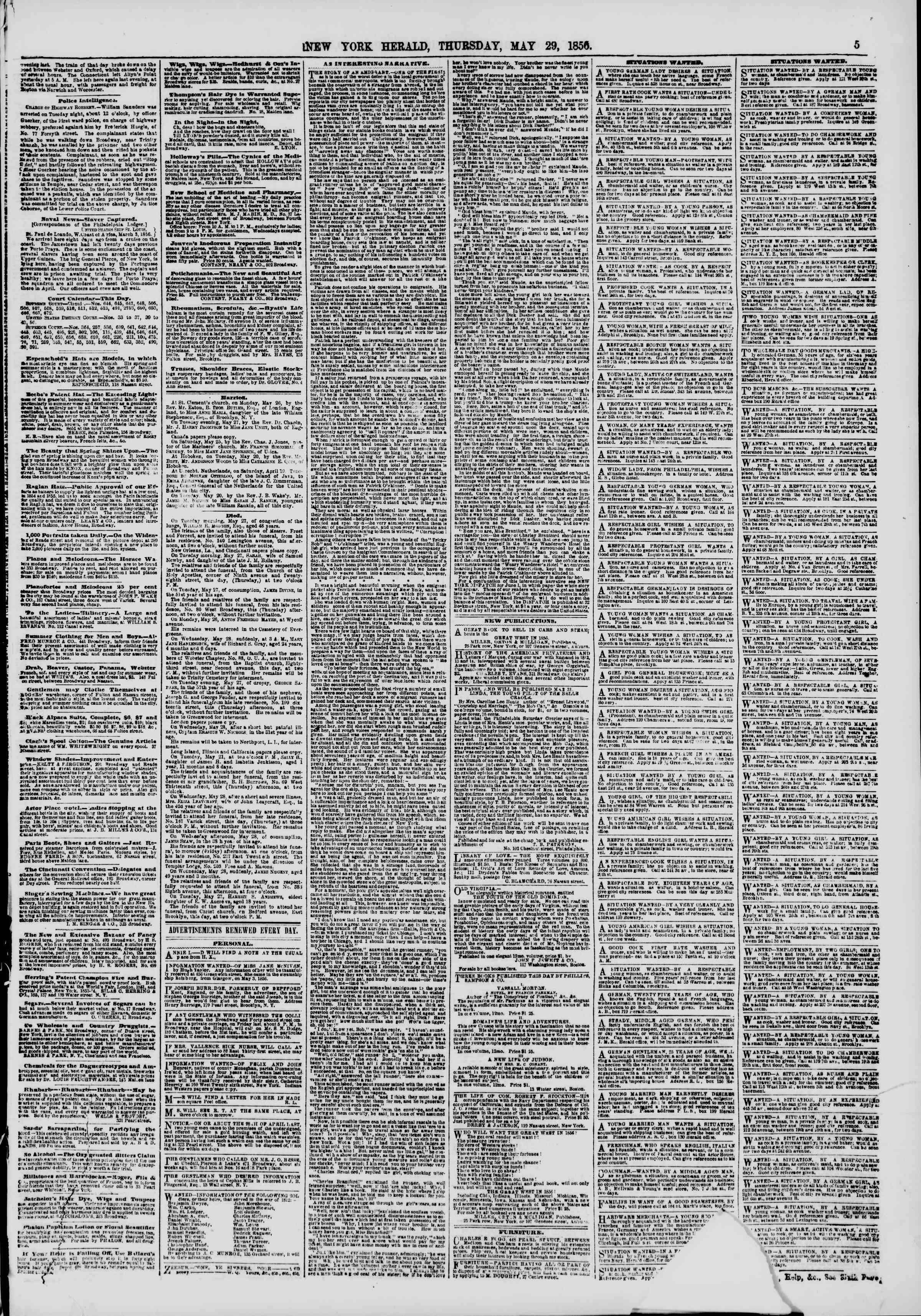 Newspaper of The New York Herald dated May 29, 1856 Page 7