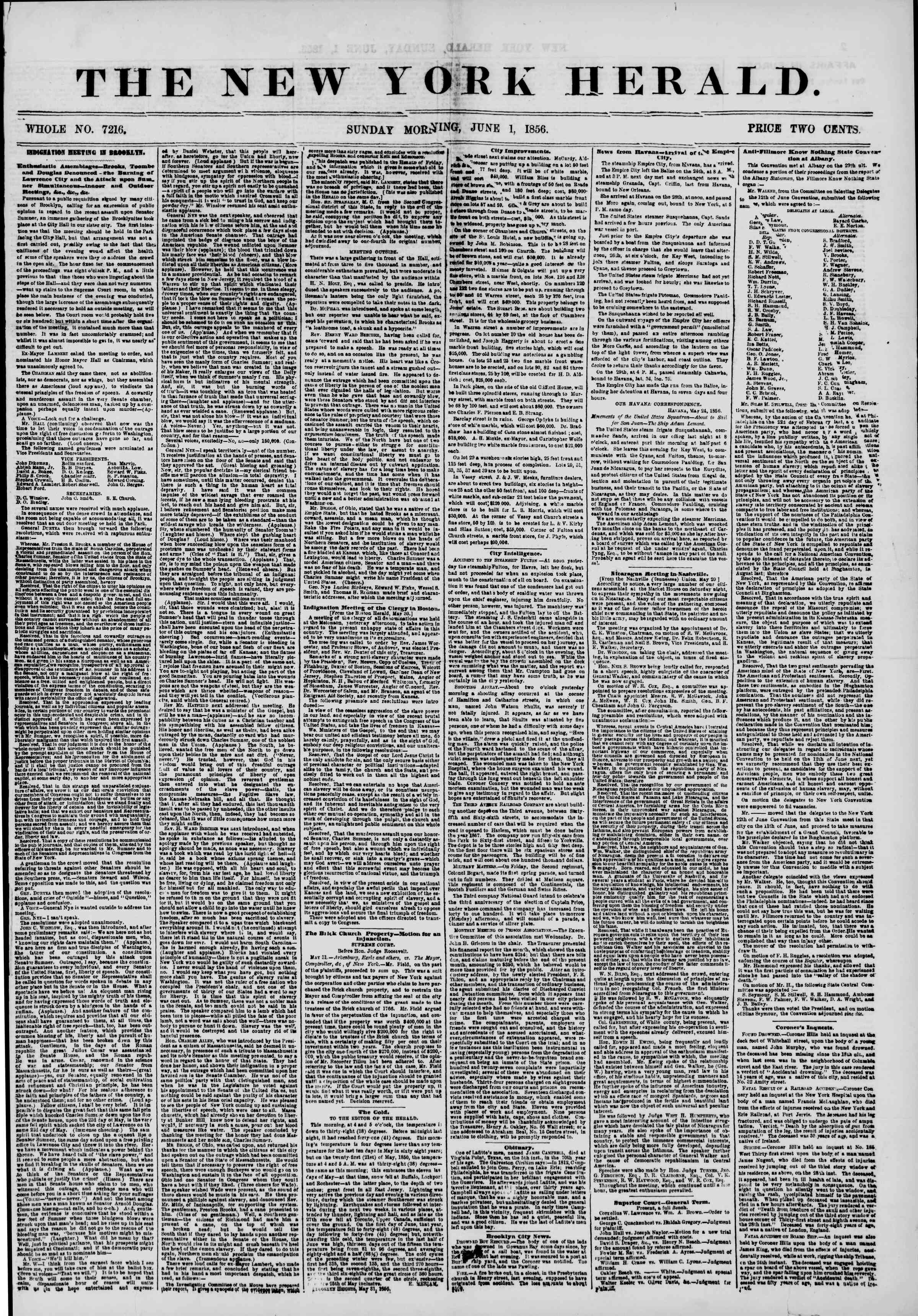 Newspaper of The New York Herald dated June 1, 1856 Page 1