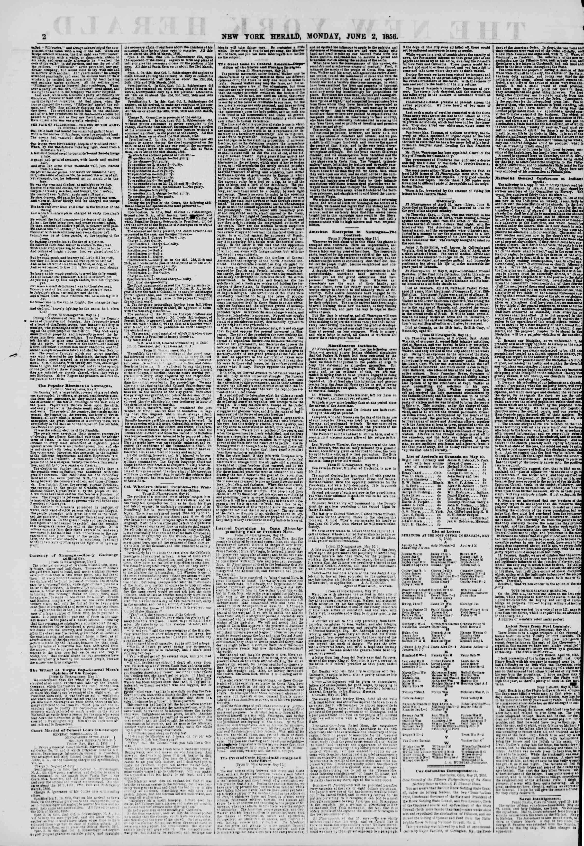 Newspaper of The New York Herald dated June 2, 1856 Page 2
