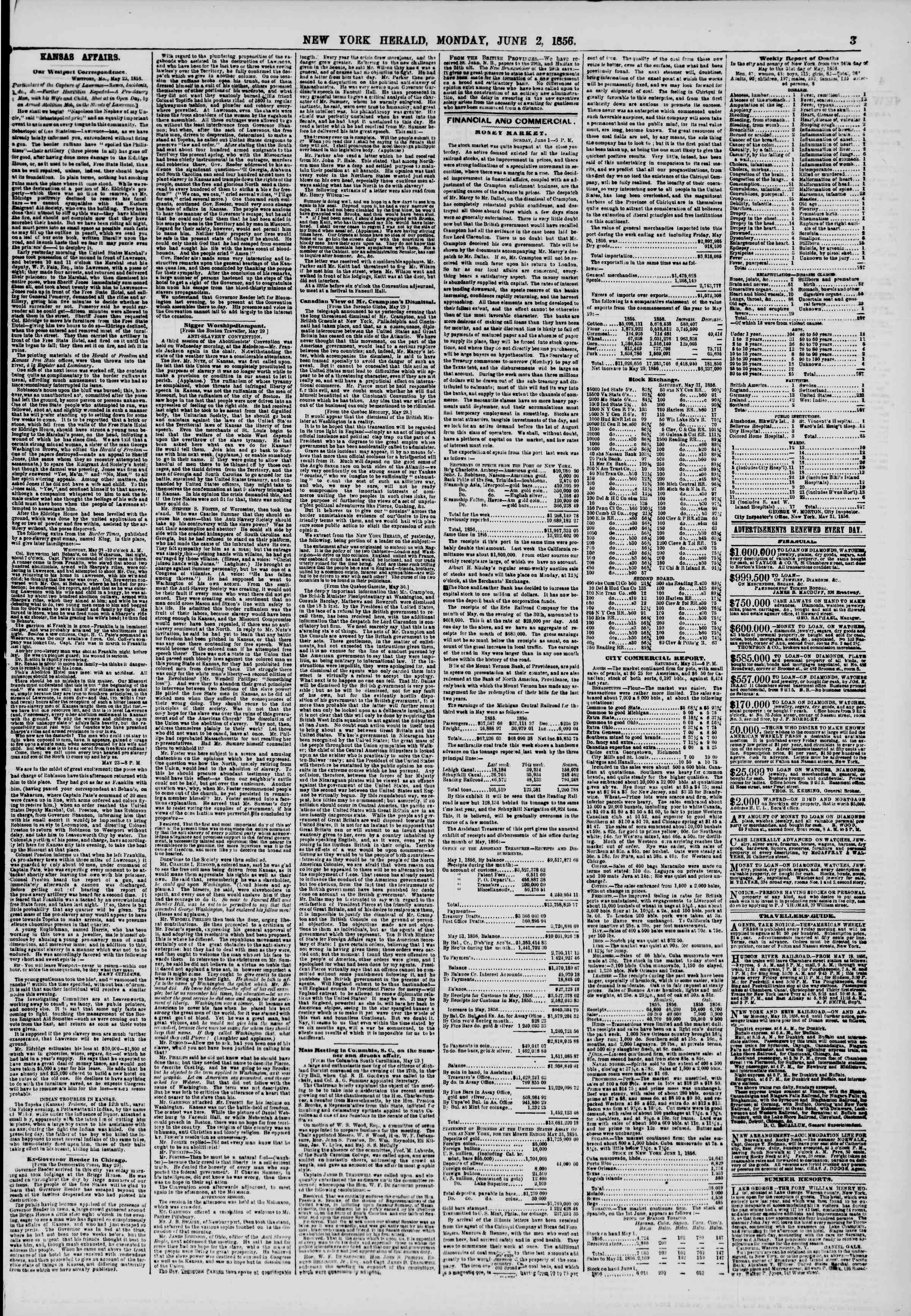 Newspaper of The New York Herald dated June 2, 1856 Page 3