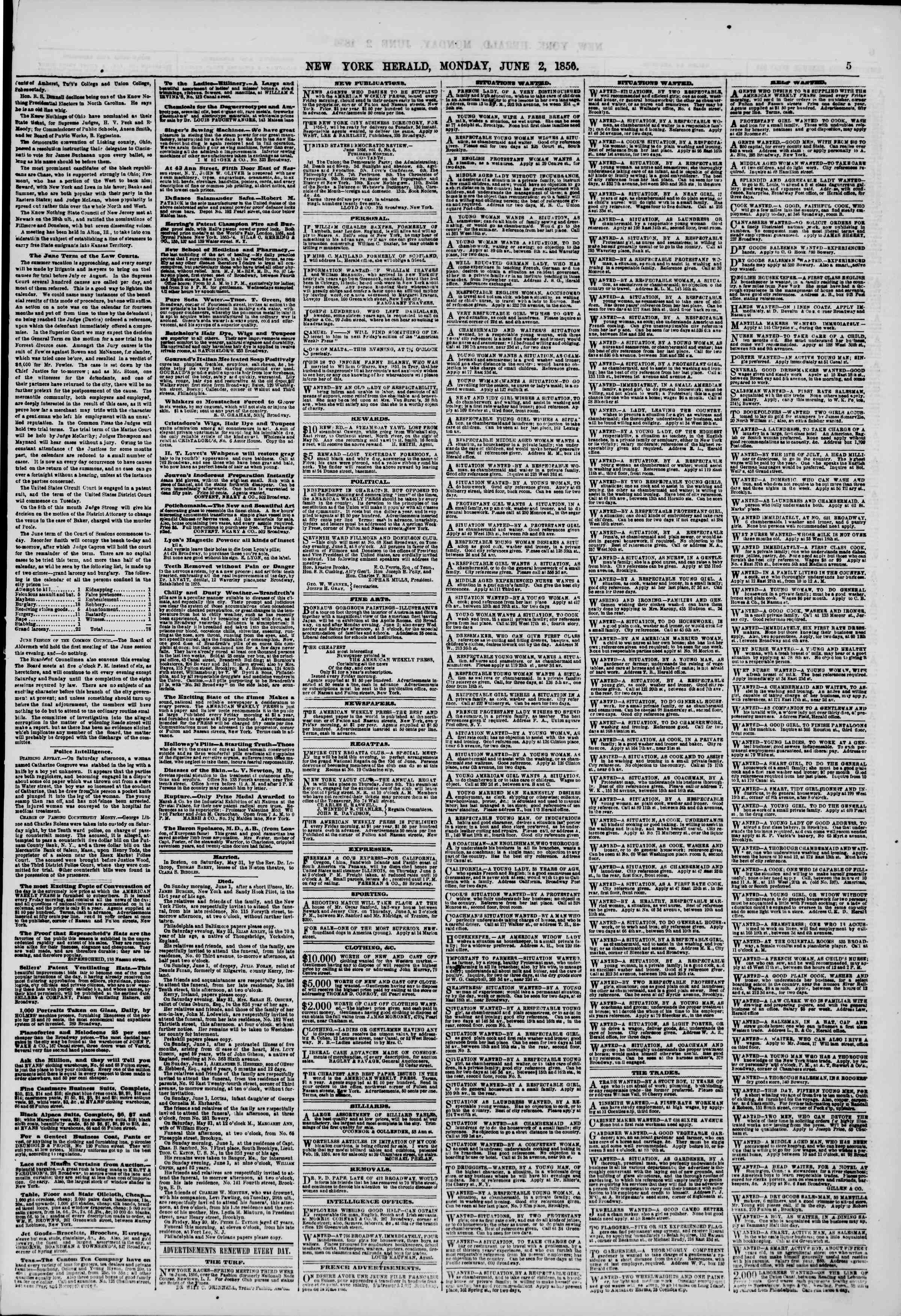 Newspaper of The New York Herald dated June 2, 1856 Page 5