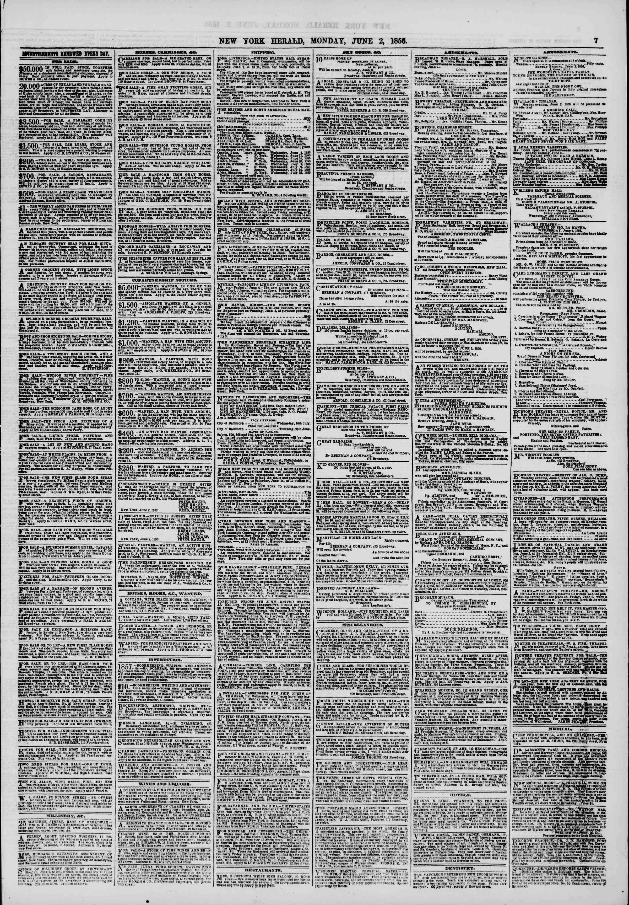 Newspaper of The New York Herald dated June 2, 1856 Page 7