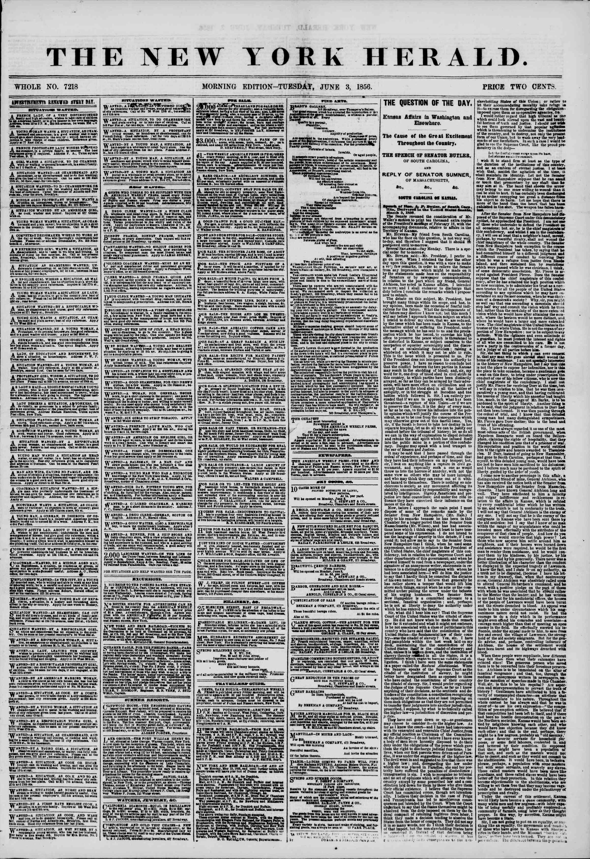 Newspaper of The New York Herald dated June 3, 1856 Page 1