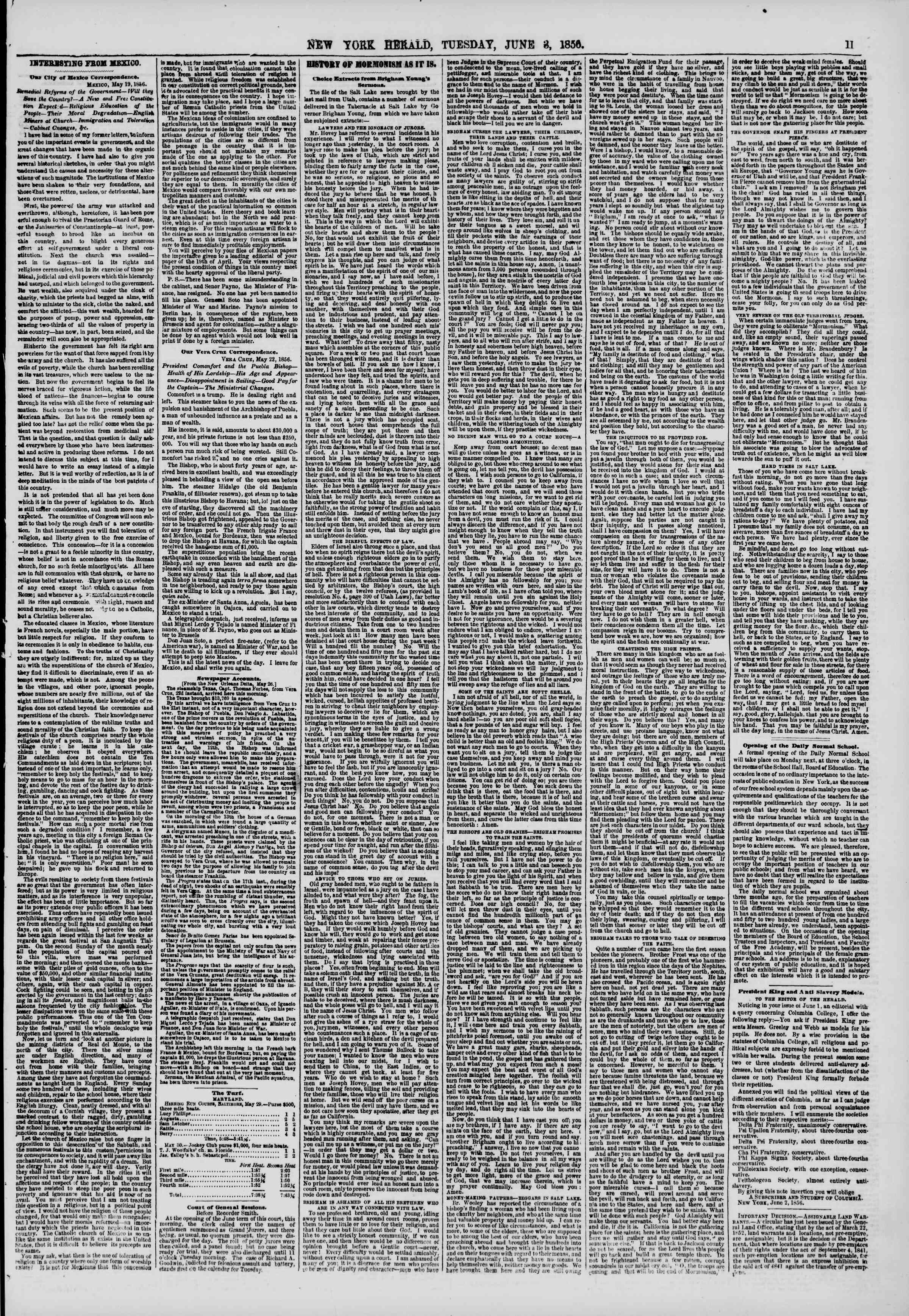 Newspaper of The New York Herald dated June 3, 1856 Page 11