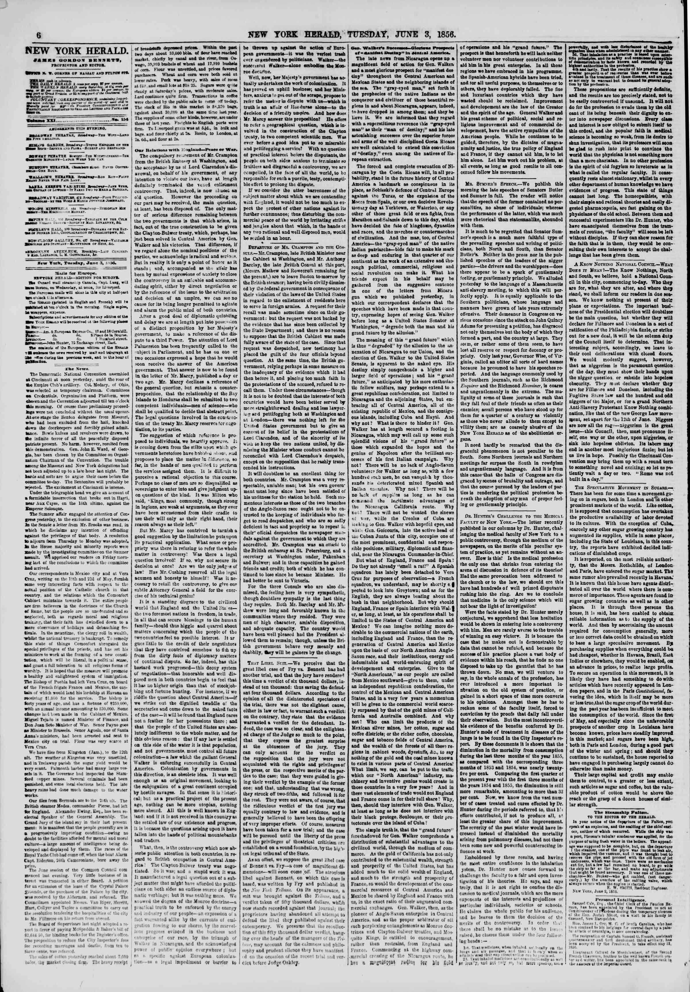 3 Haziran 1856 tarihli The New York Herald Gazetesi Sayfa 6