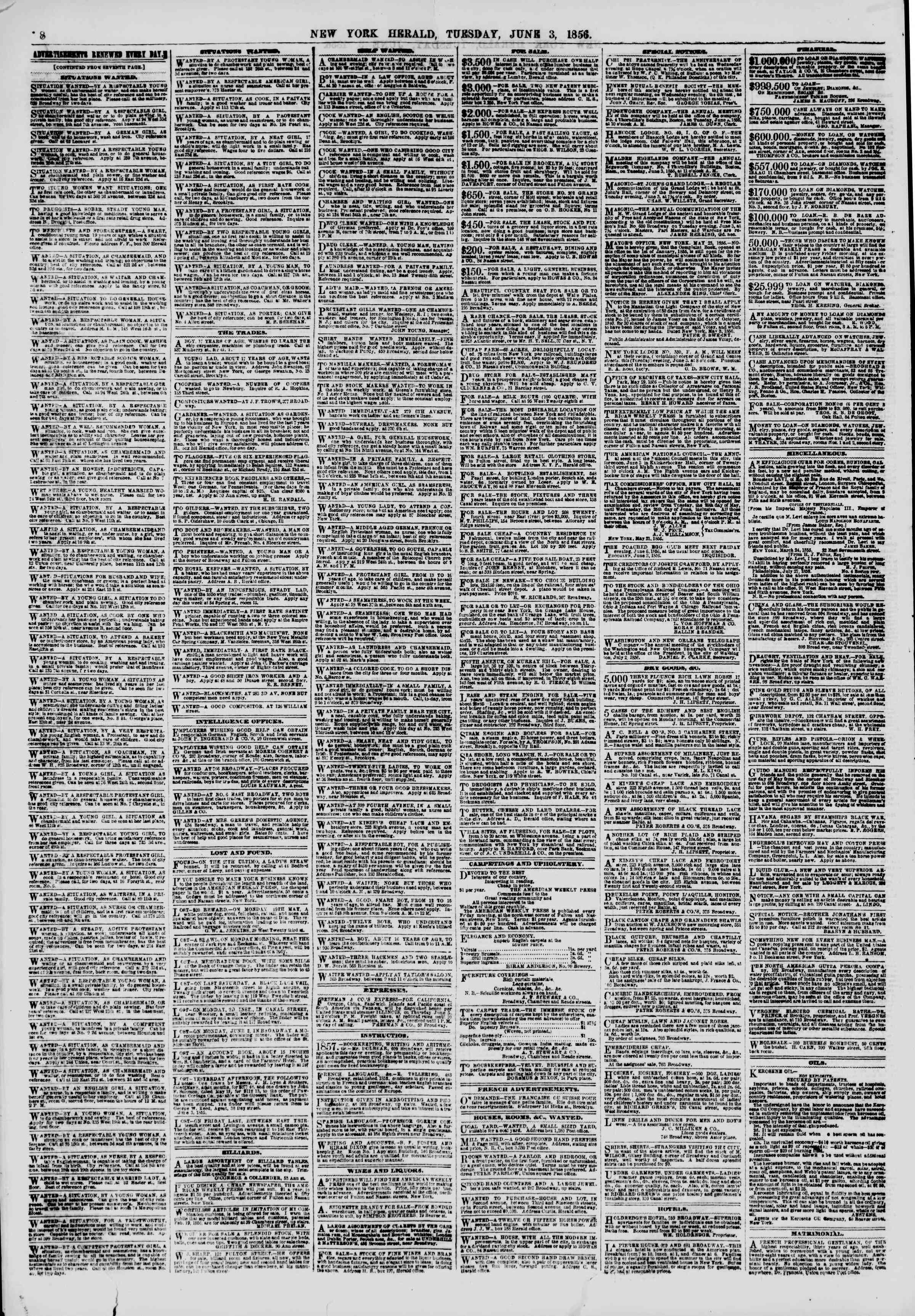 Newspaper of The New York Herald dated June 3, 1856 Page 8