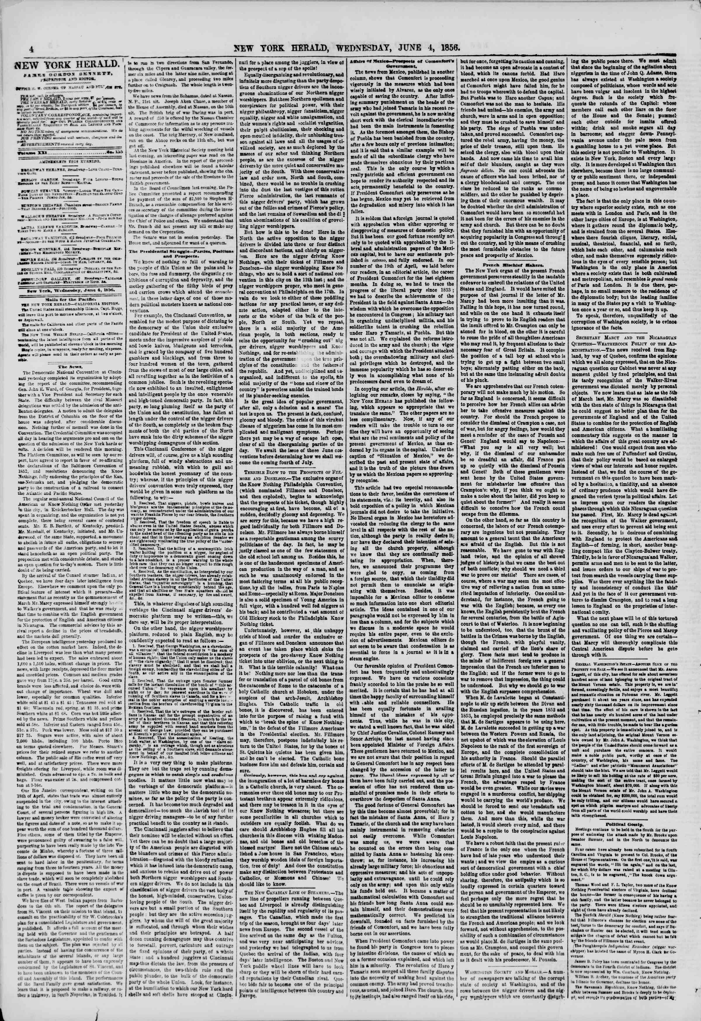 Newspaper of The New York Herald dated June 4, 1856 Page 4