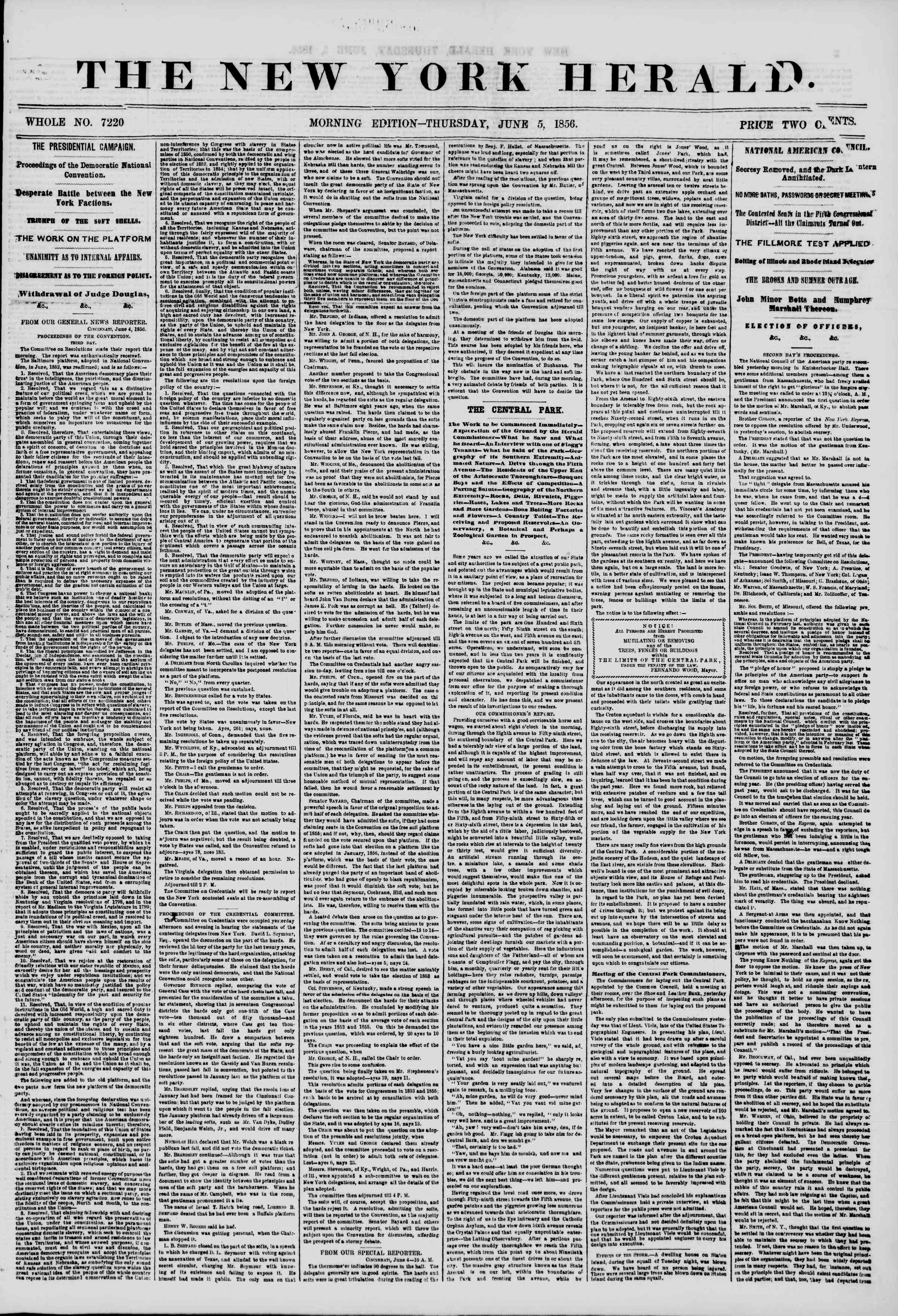 Newspaper of The New York Herald dated June 5, 1856 Page 1