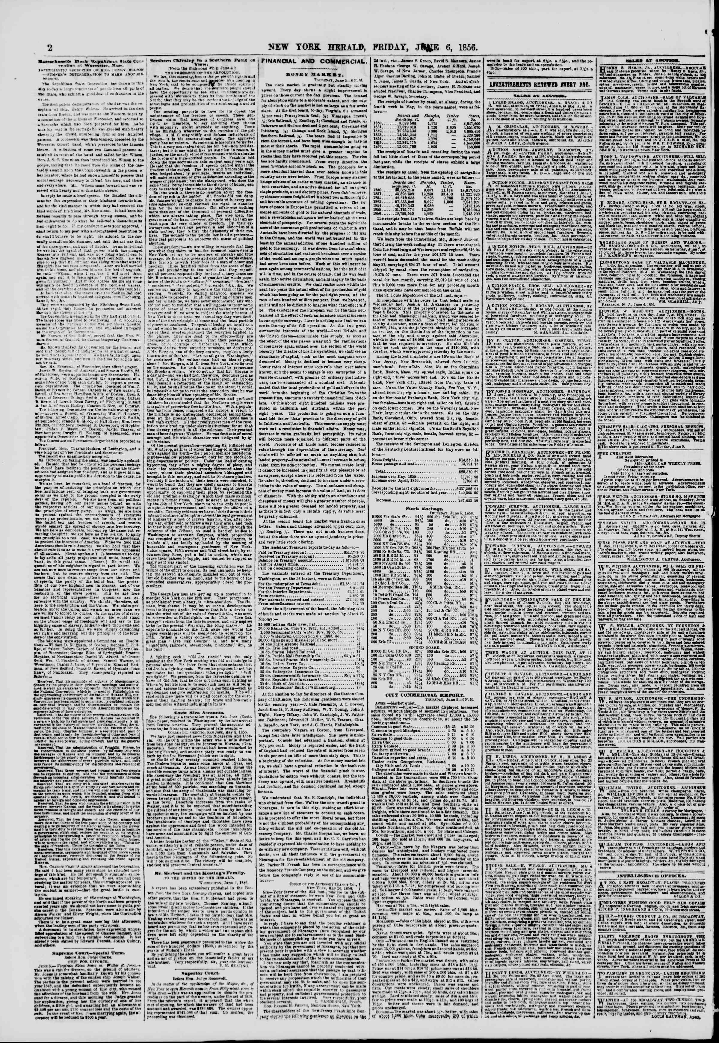 Newspaper of The New York Herald dated June 6, 1856 Page 2