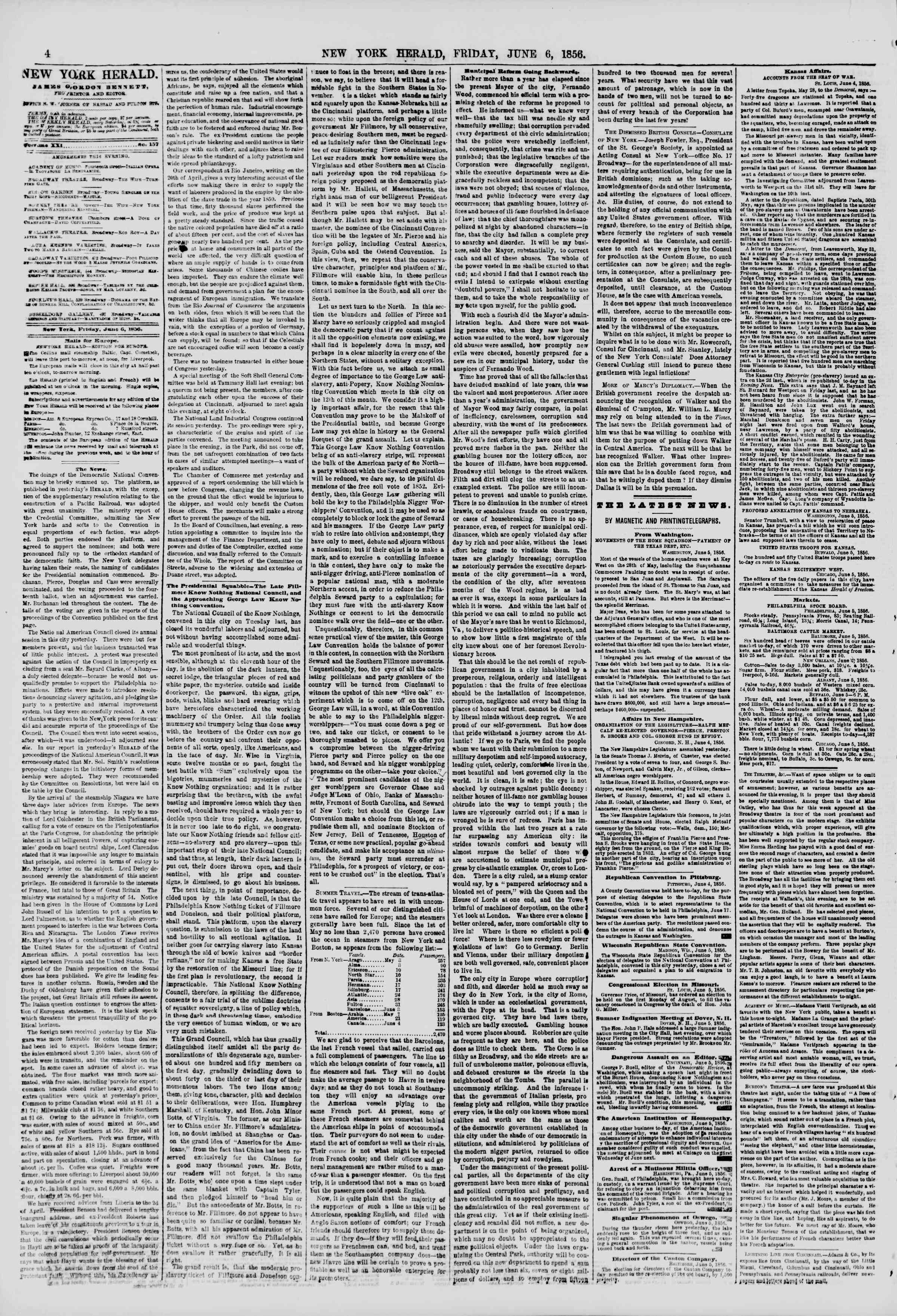 Newspaper of The New York Herald dated June 6, 1856 Page 4
