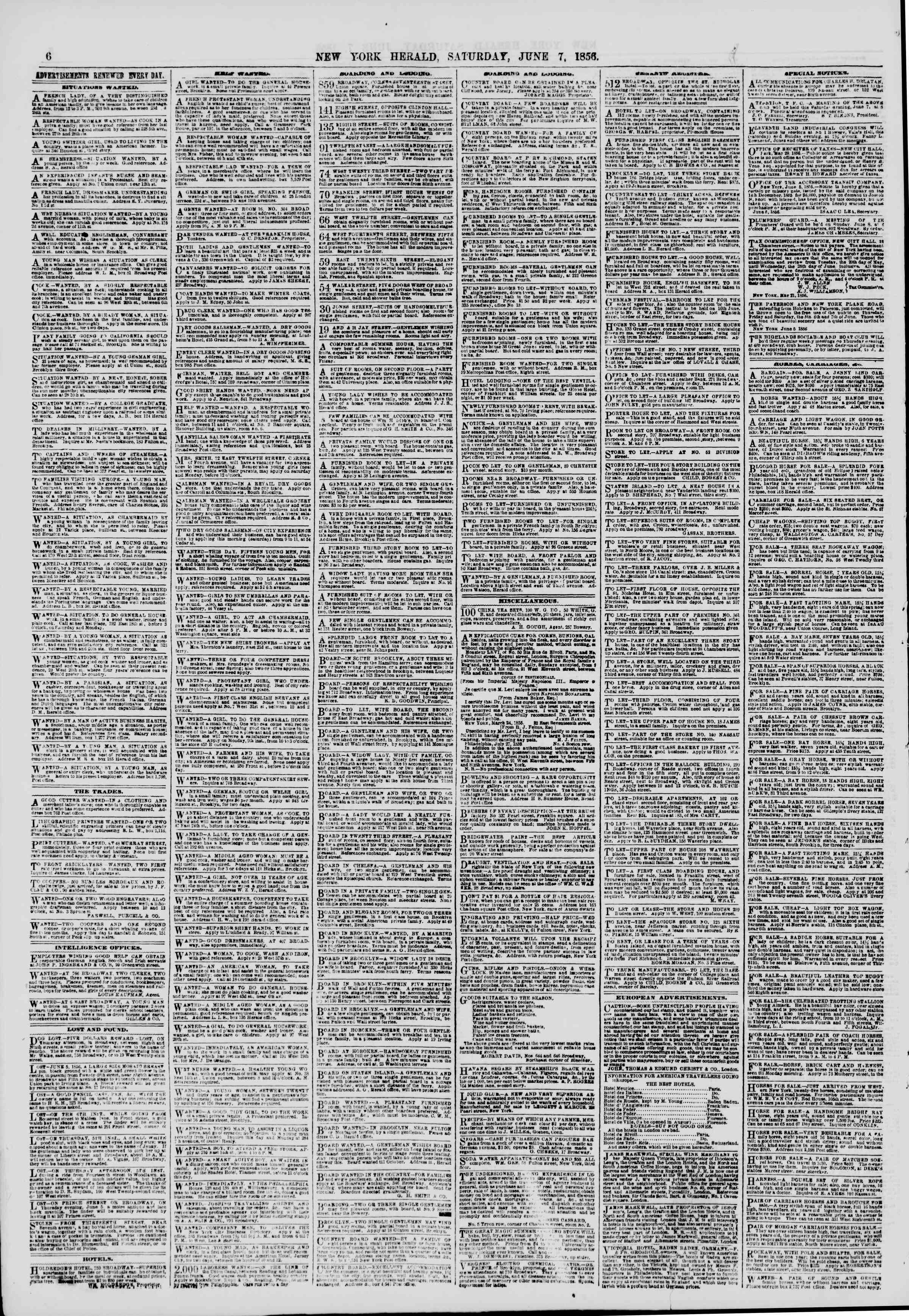 Newspaper of The New York Herald dated June 7, 1856 Page 6