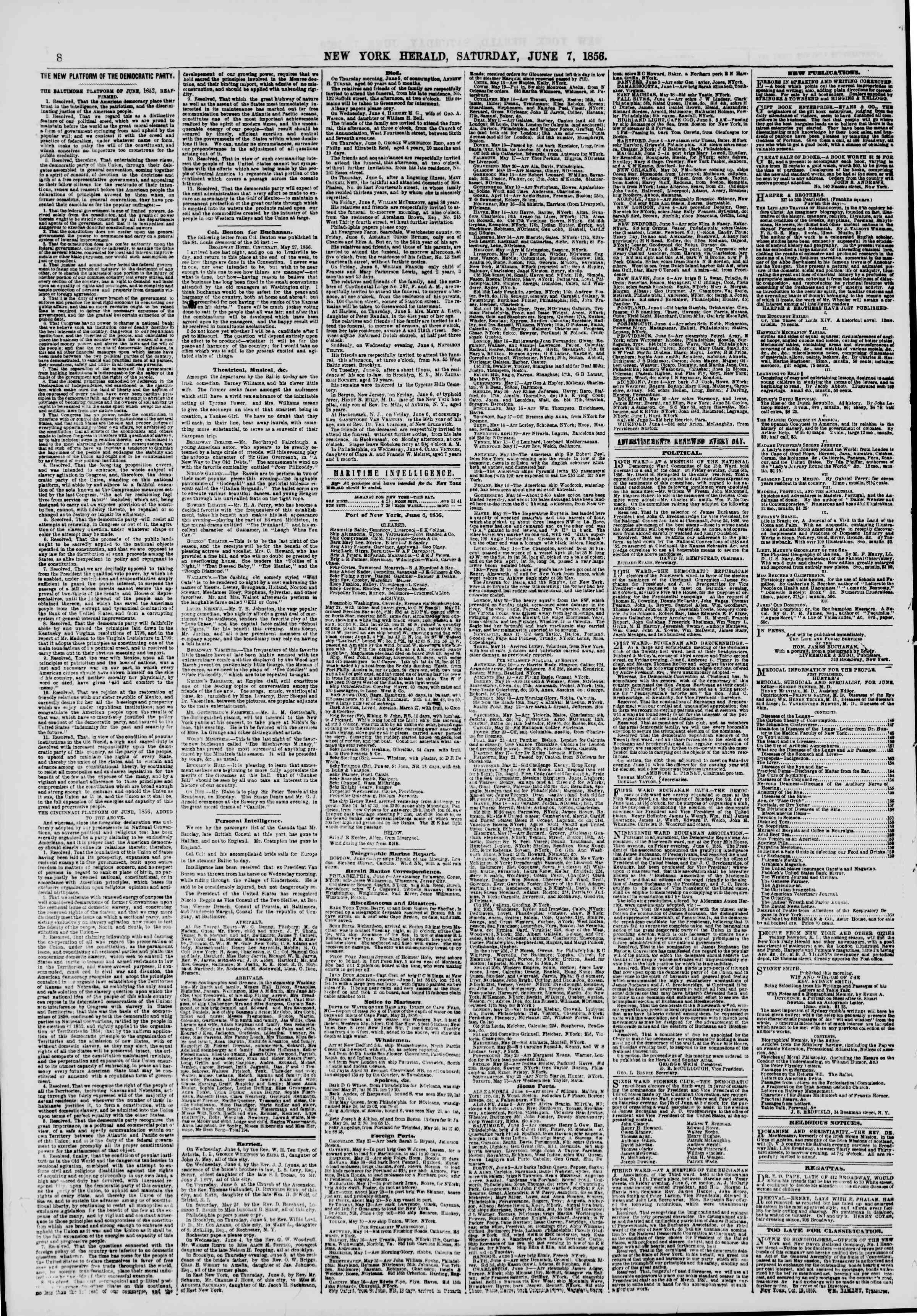 Newspaper of The New York Herald dated June 7, 1856 Page 8