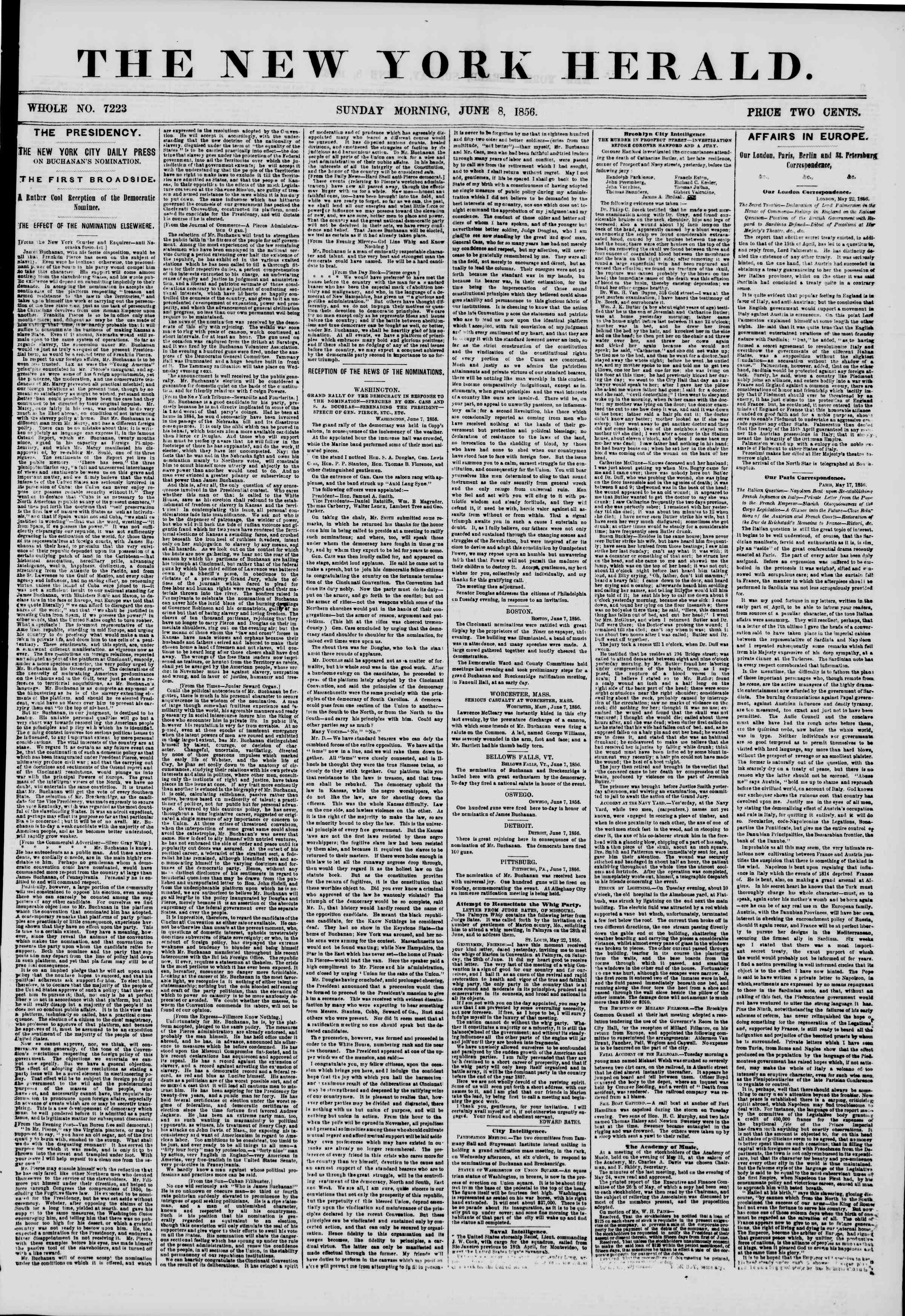 Newspaper of The New York Herald dated June 8, 1856 Page 1