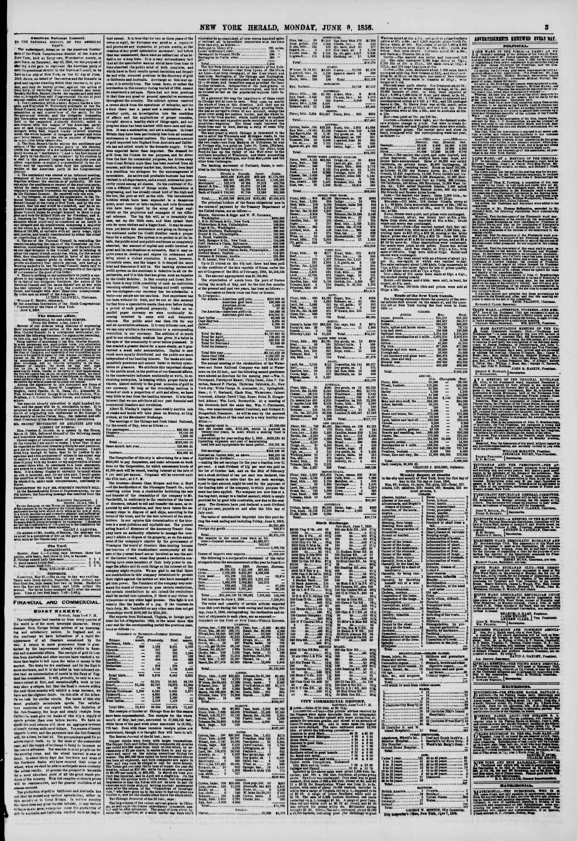 Newspaper of The New York Herald dated June 9, 1856 Page 3