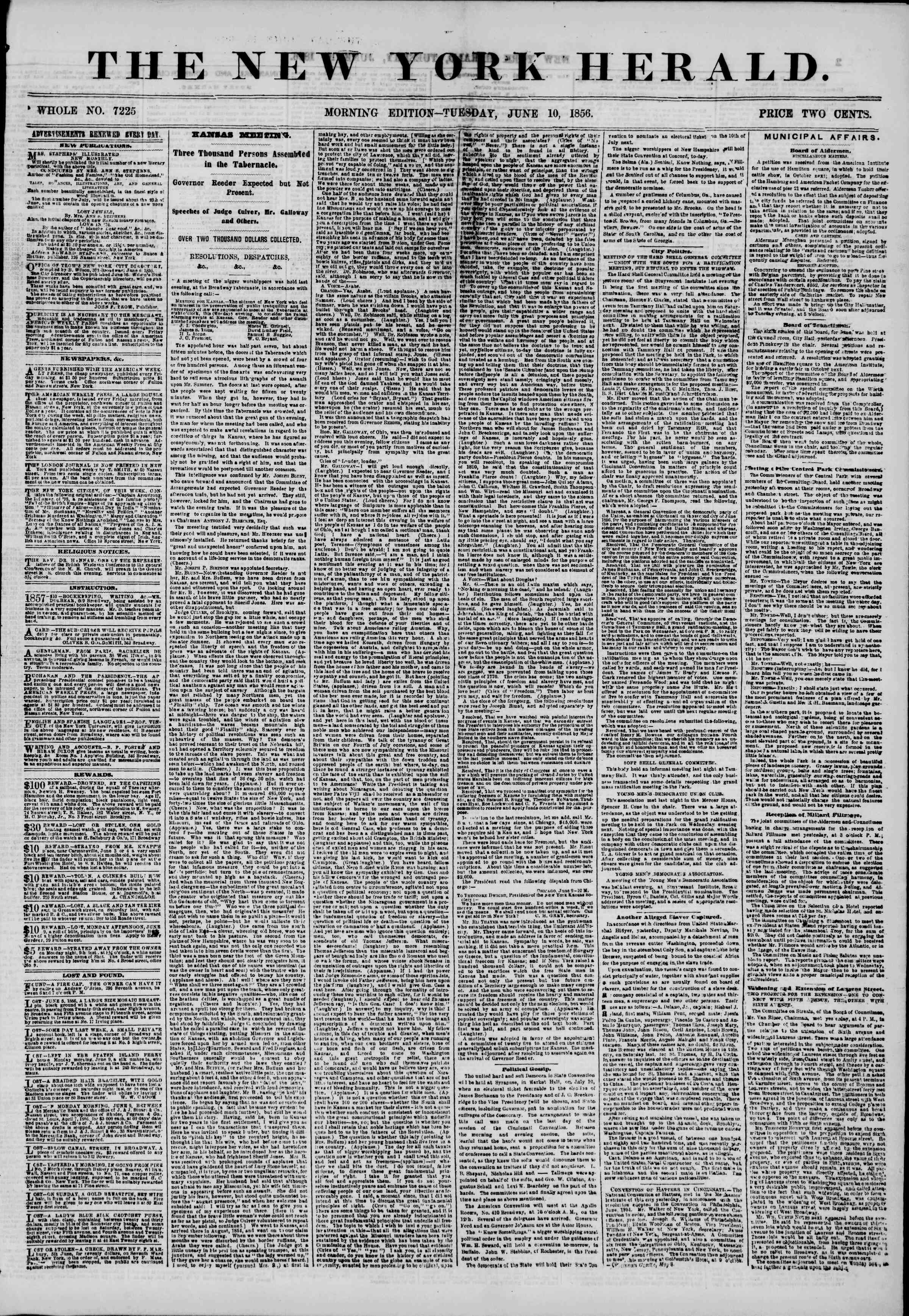 Newspaper of The New York Herald dated June 10, 1856 Page 1