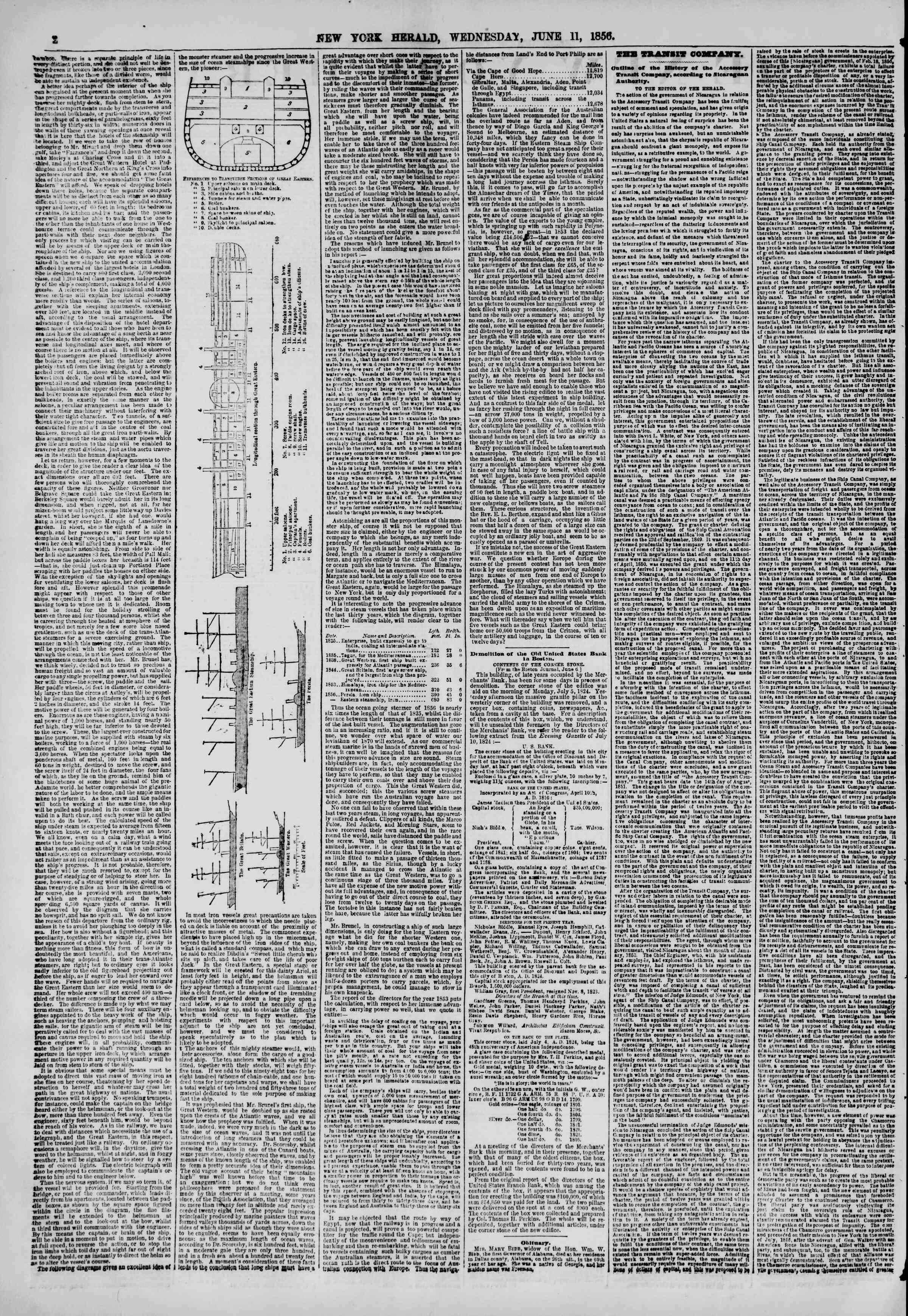Newspaper of The New York Herald dated June 11, 1856 Page 2