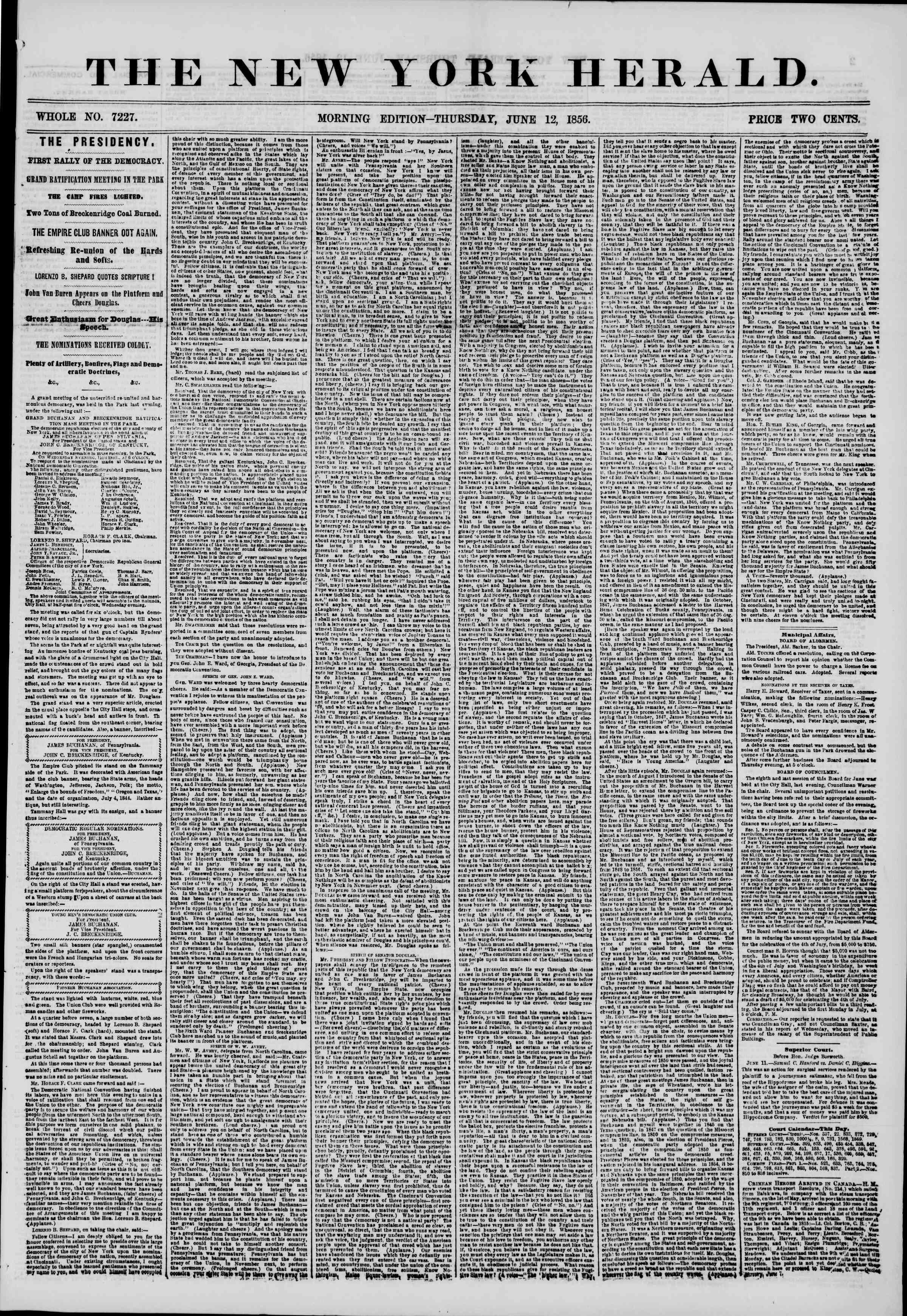 Newspaper of The New York Herald dated June 12, 1856 Page 1