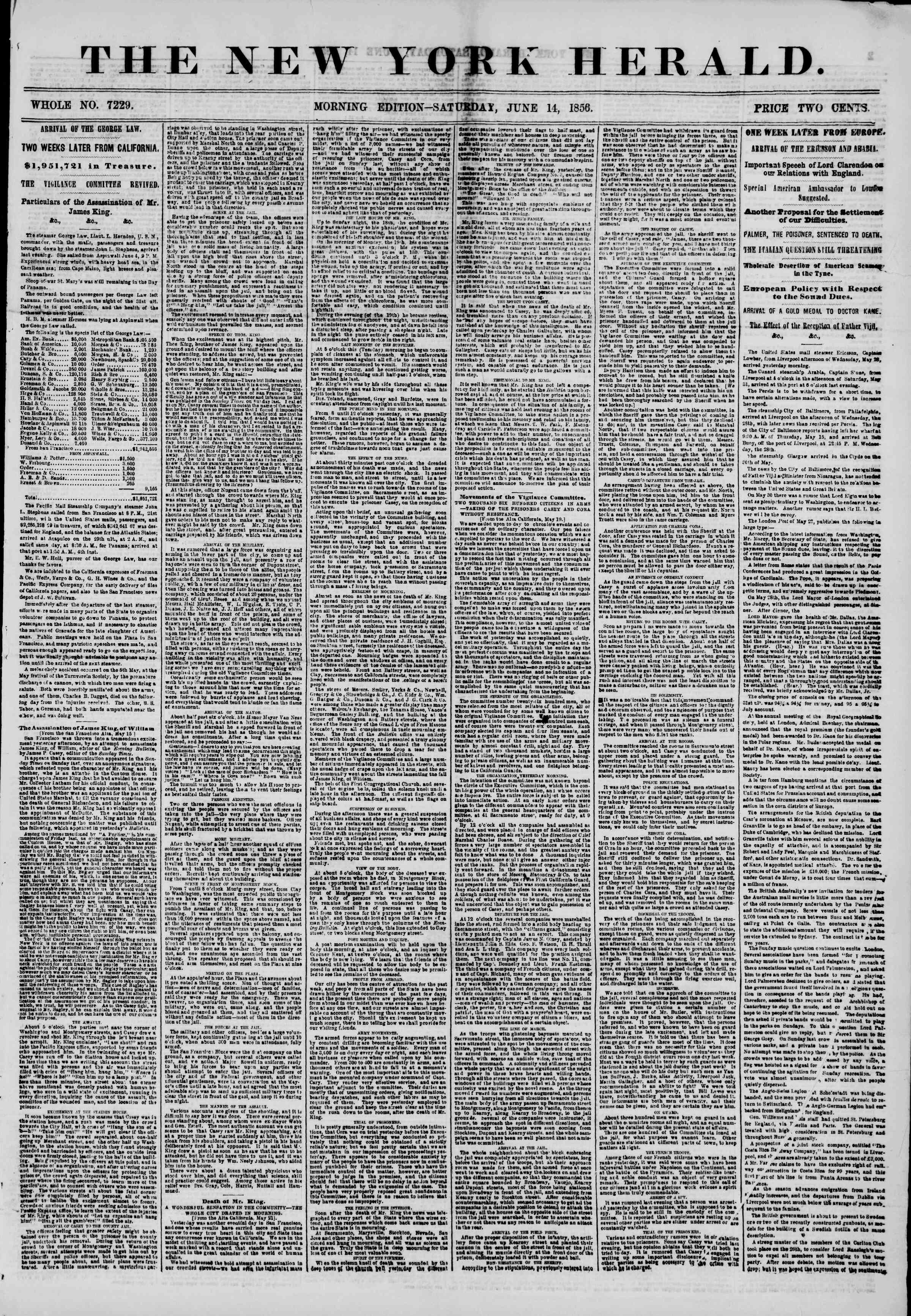 Newspaper of The New York Herald dated June 14, 1856 Page 1