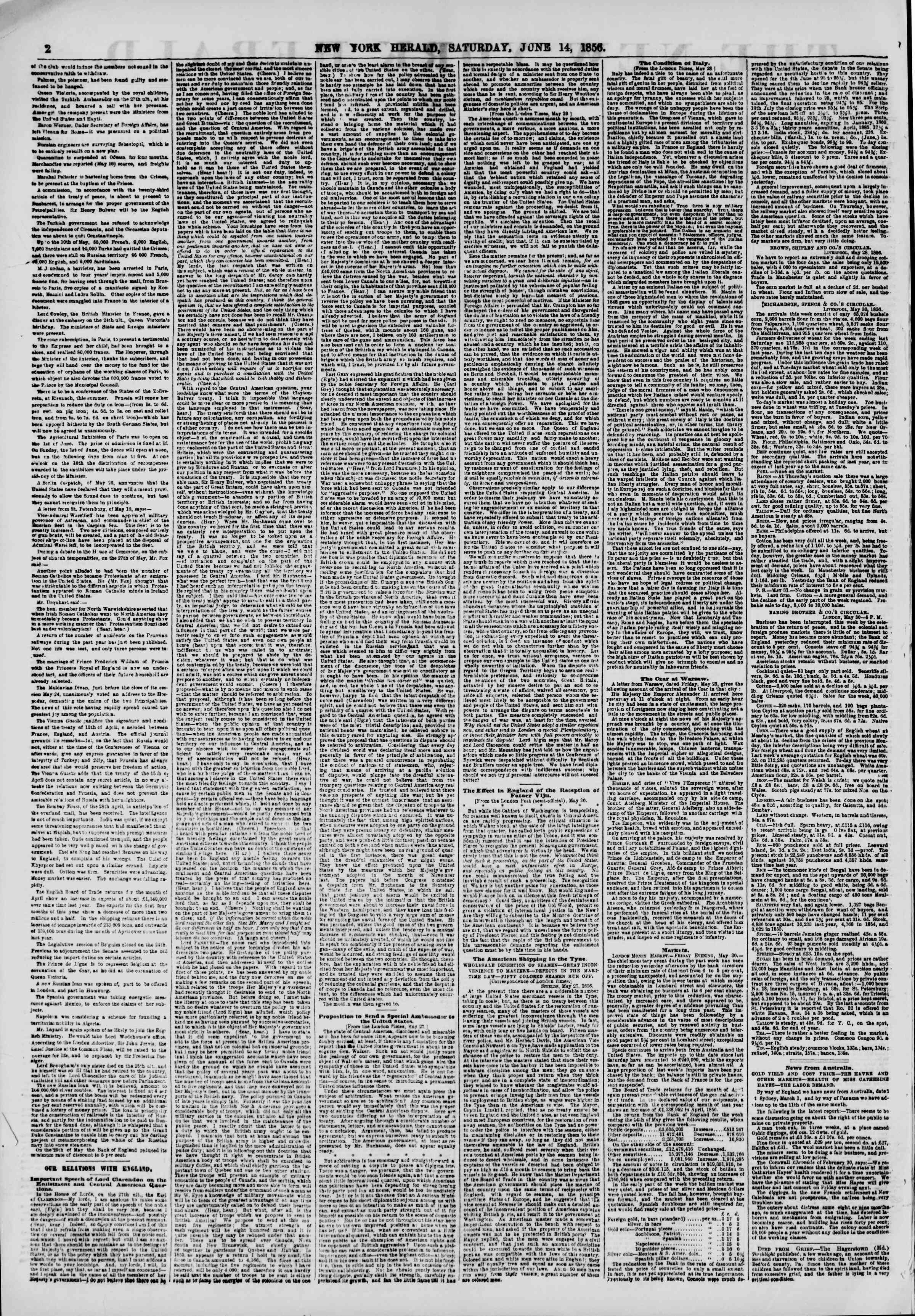 Newspaper of The New York Herald dated June 14, 1856 Page 2