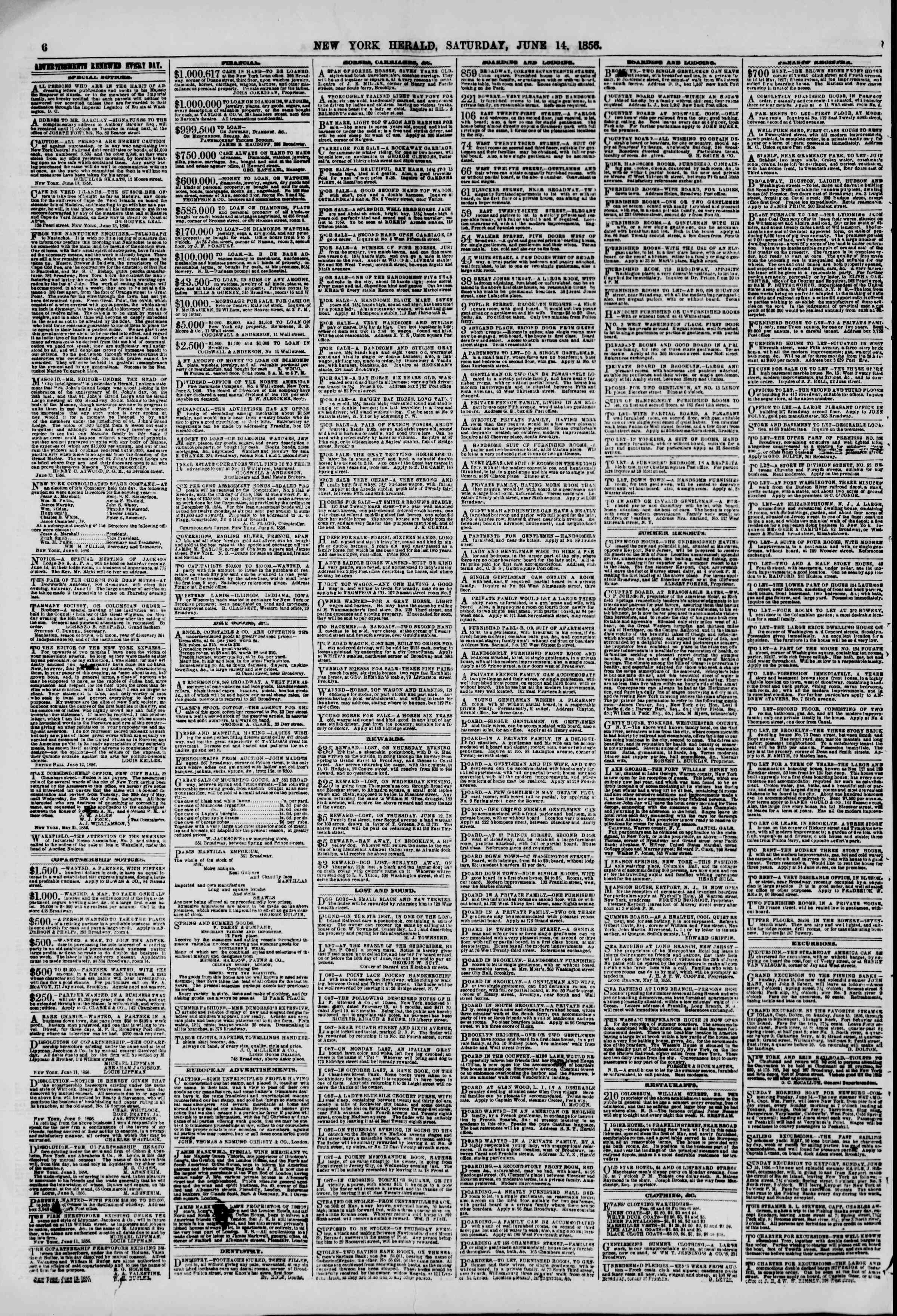 Newspaper of The New York Herald dated June 14, 1856 Page 6