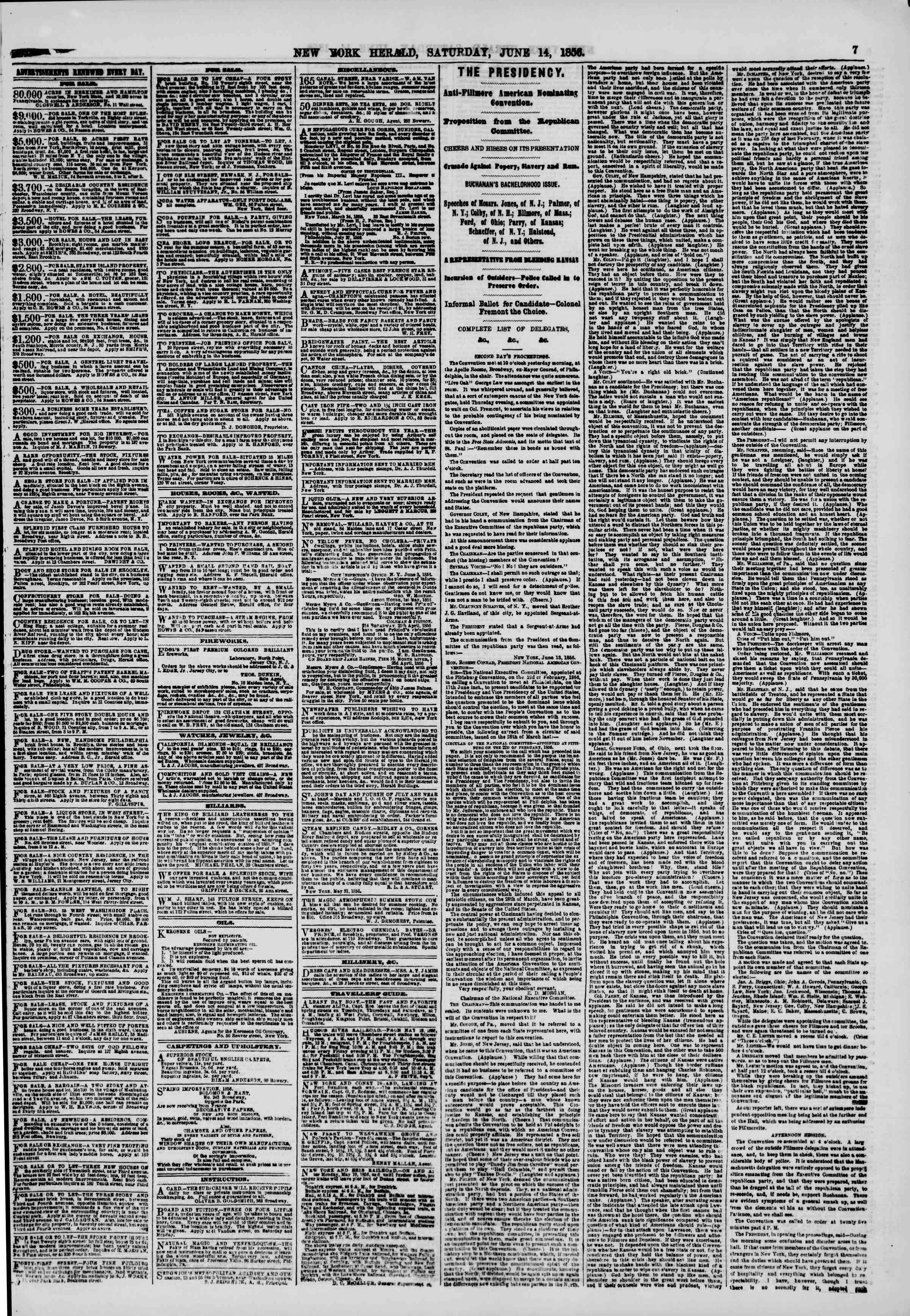 Newspaper of The New York Herald dated June 14, 1856 Page 7