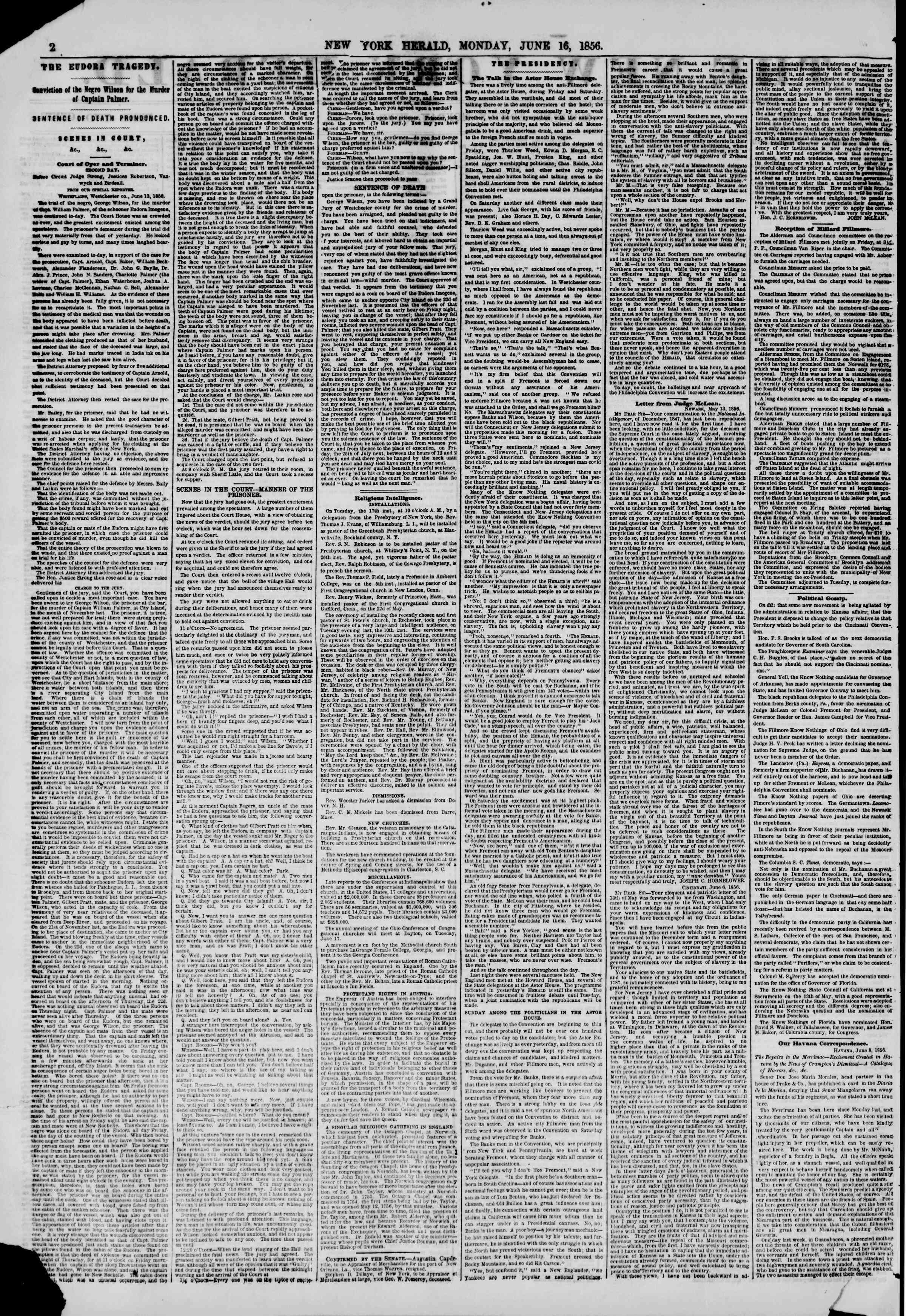 Newspaper of The New York Herald dated June 16, 1856 Page 2