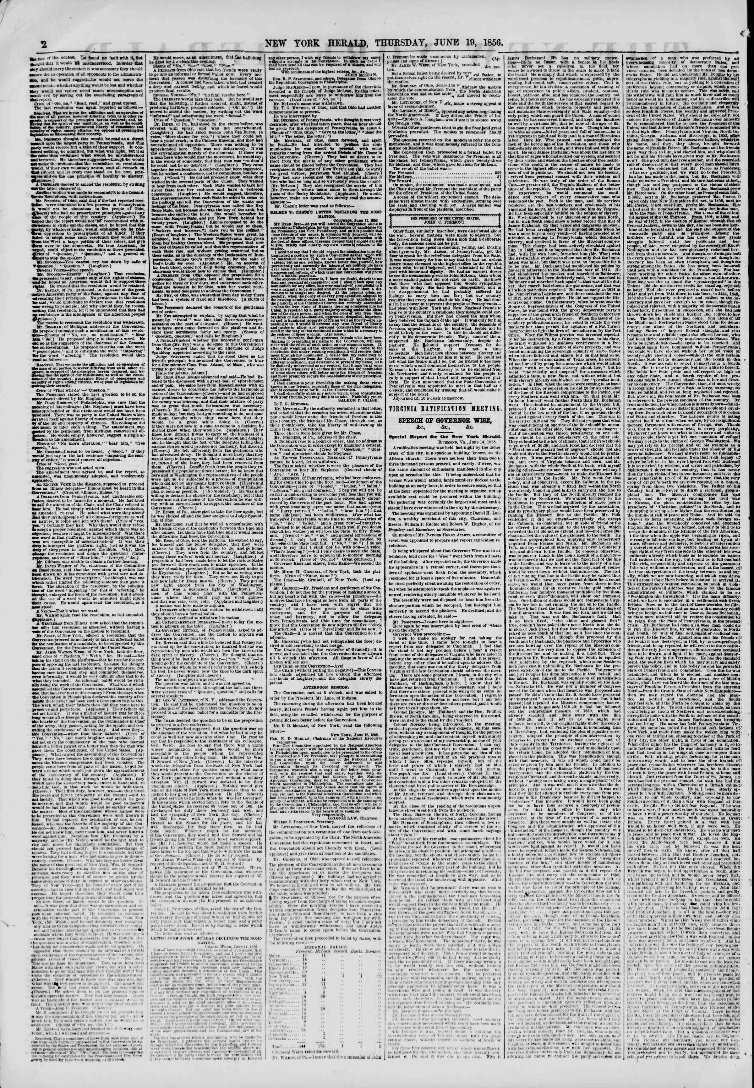 Newspaper of The New York Herald dated June 19, 1856 Page 2