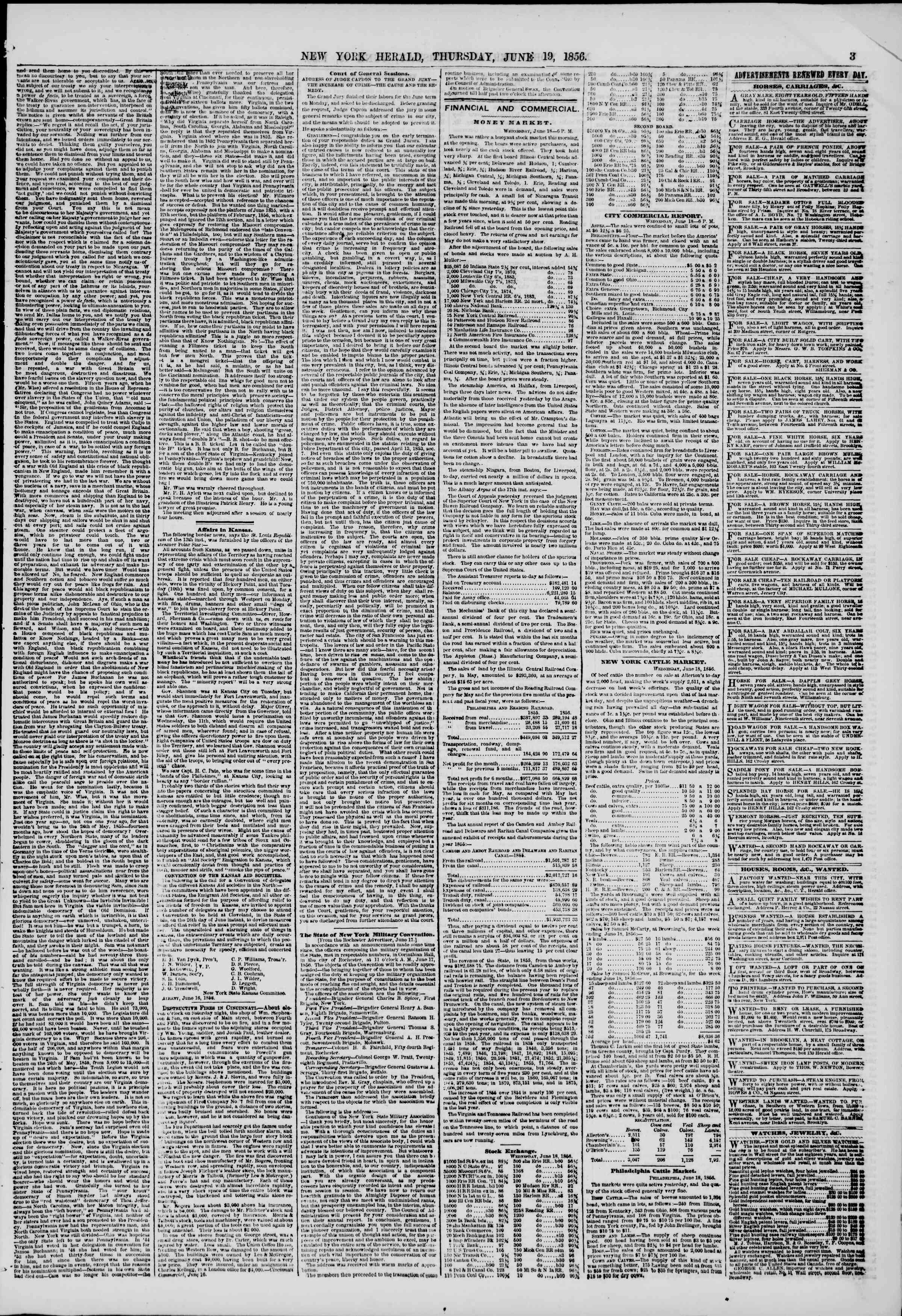 Newspaper of The New York Herald dated June 19, 1856 Page 3