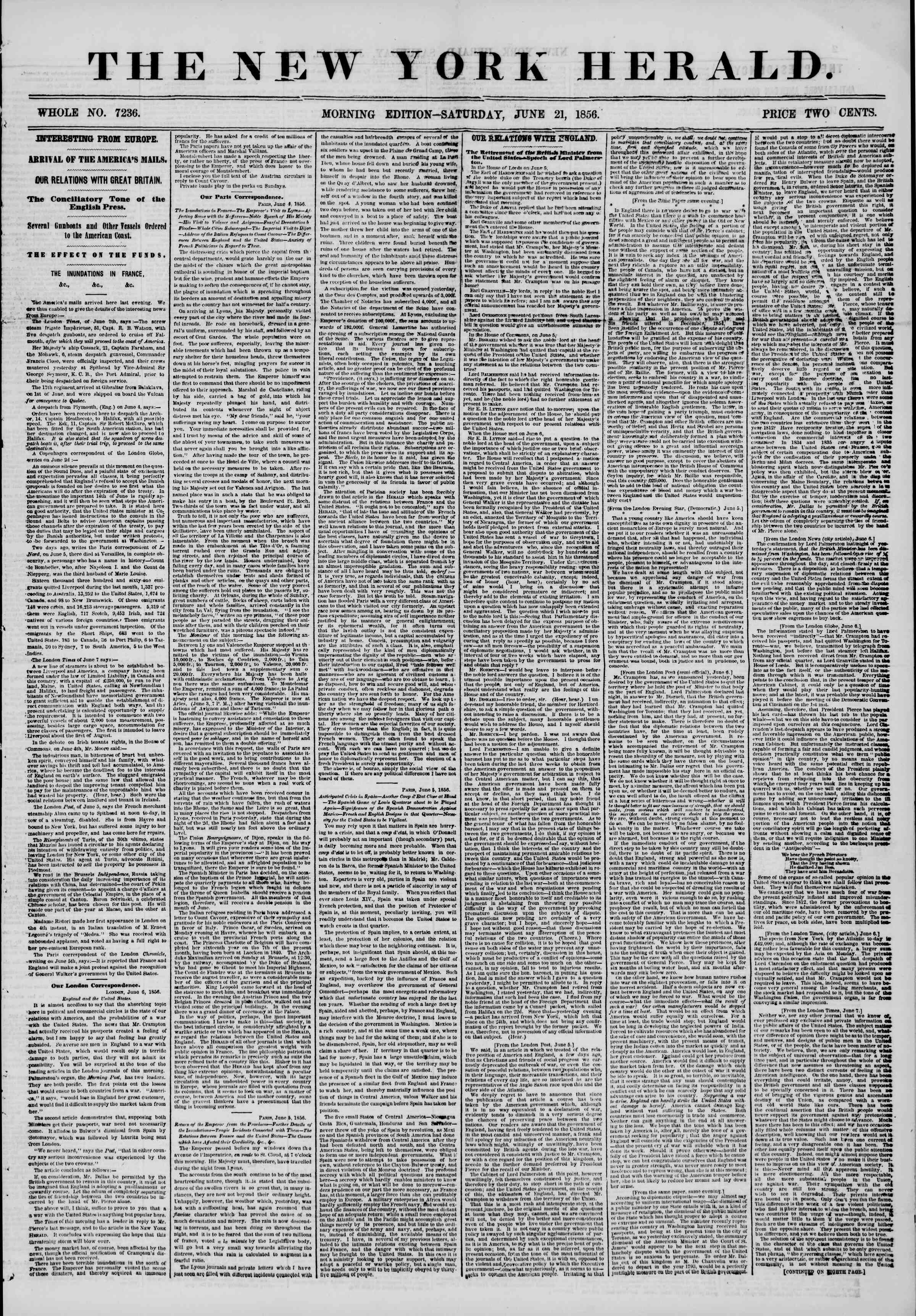Newspaper of The New York Herald dated June 21, 1856 Page 1