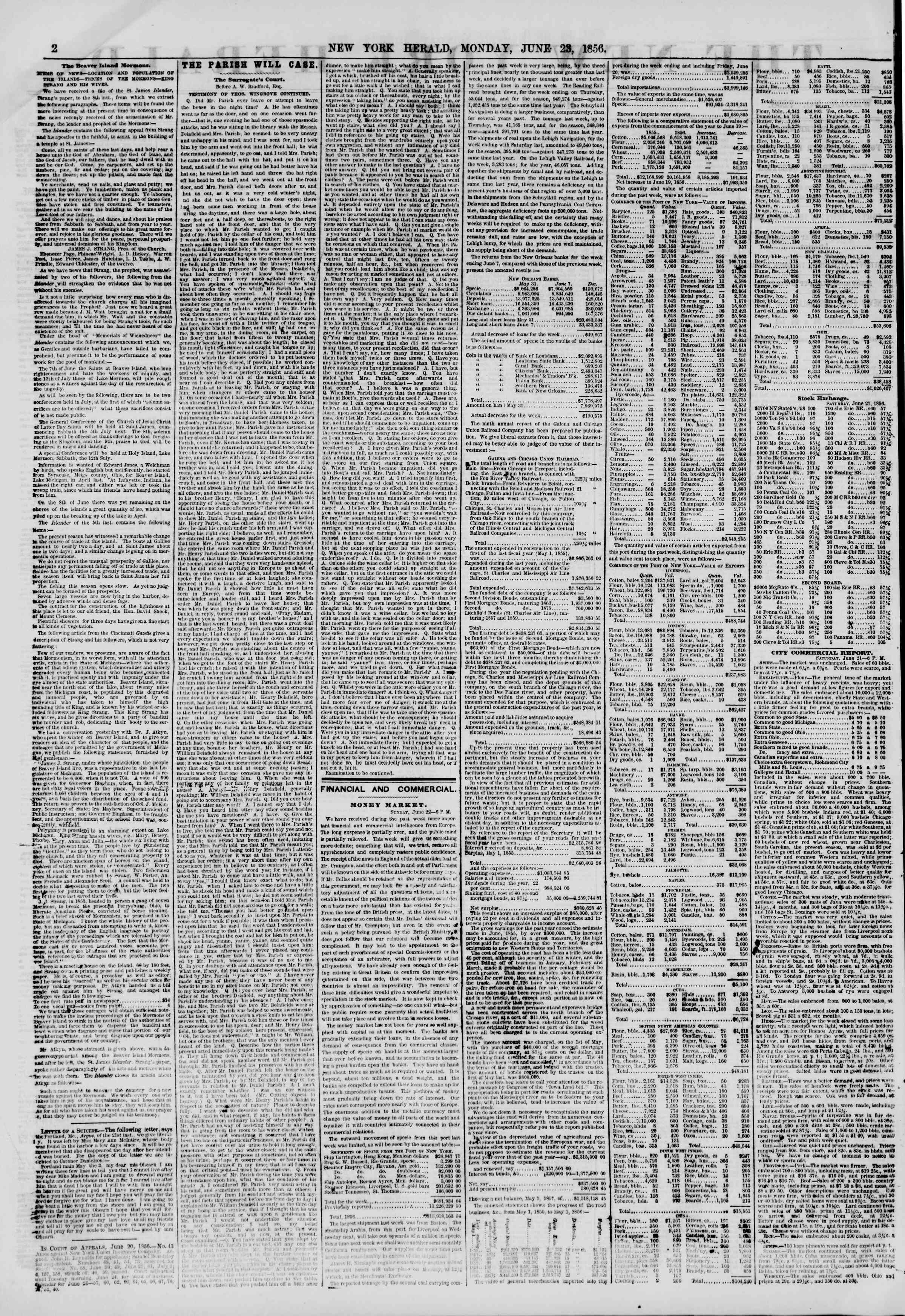 Newspaper of The New York Herald dated June 23, 1856 Page 2