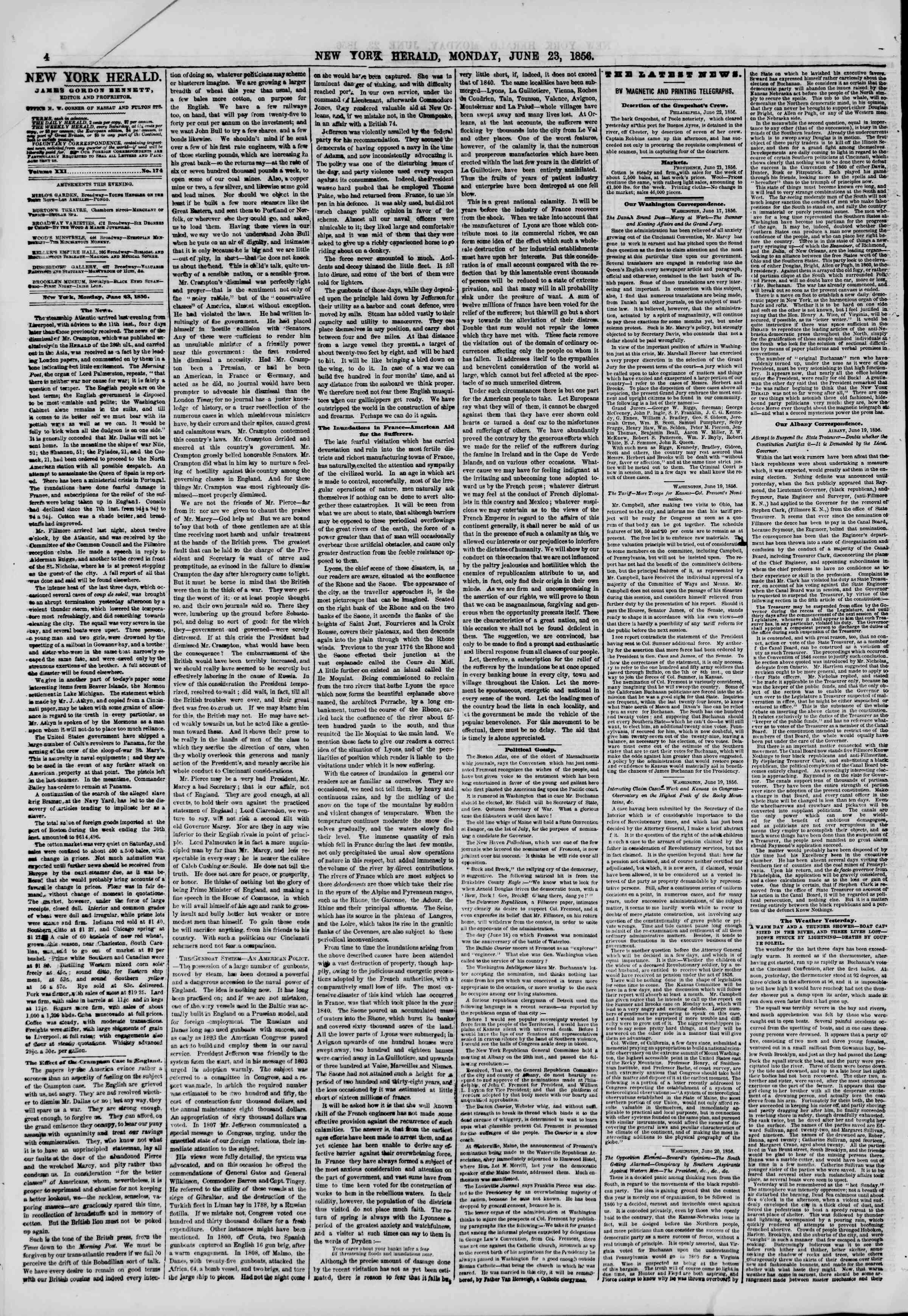 Newspaper of The New York Herald dated June 23, 1856 Page 4