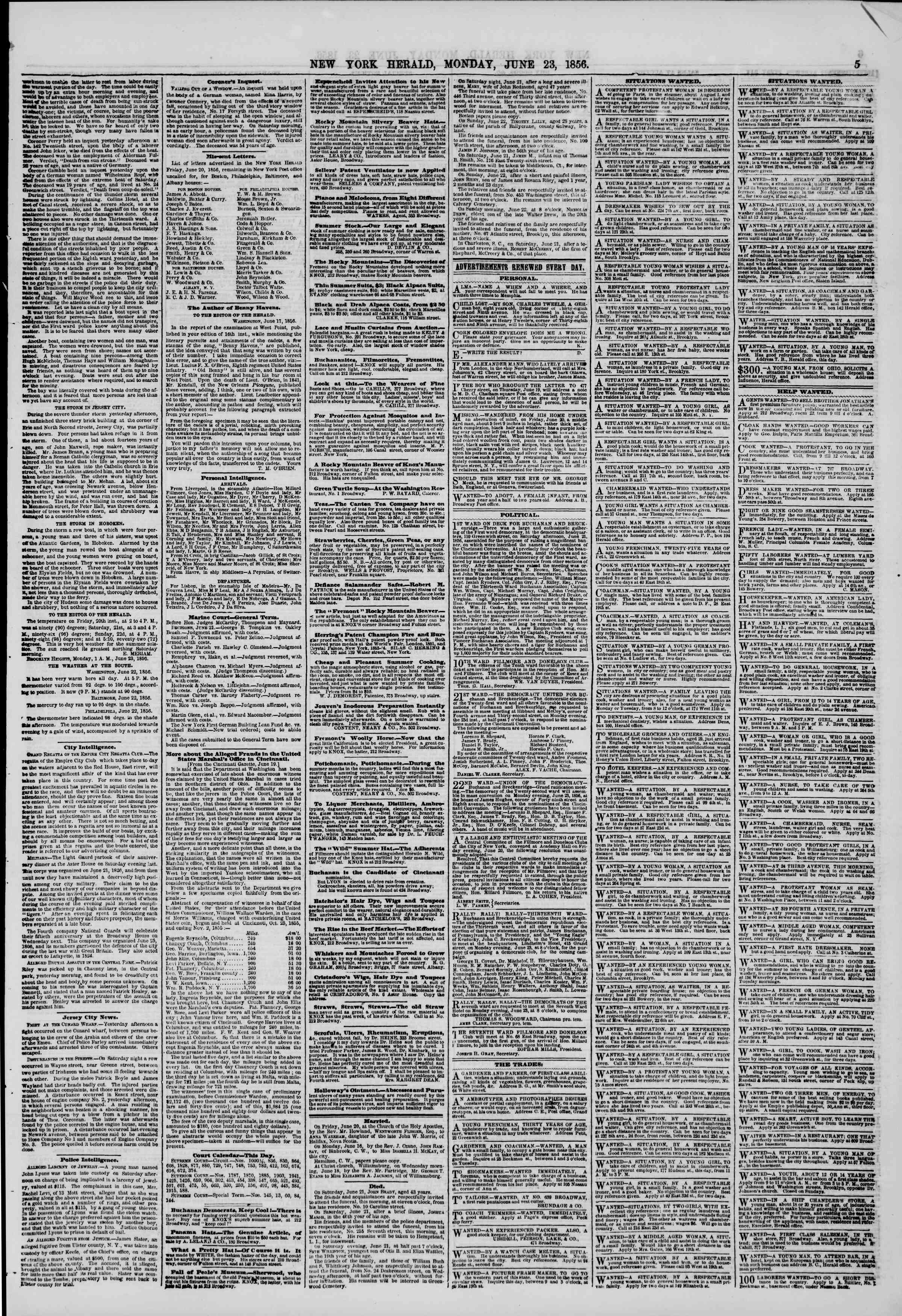 Newspaper of The New York Herald dated June 23, 1856 Page 5