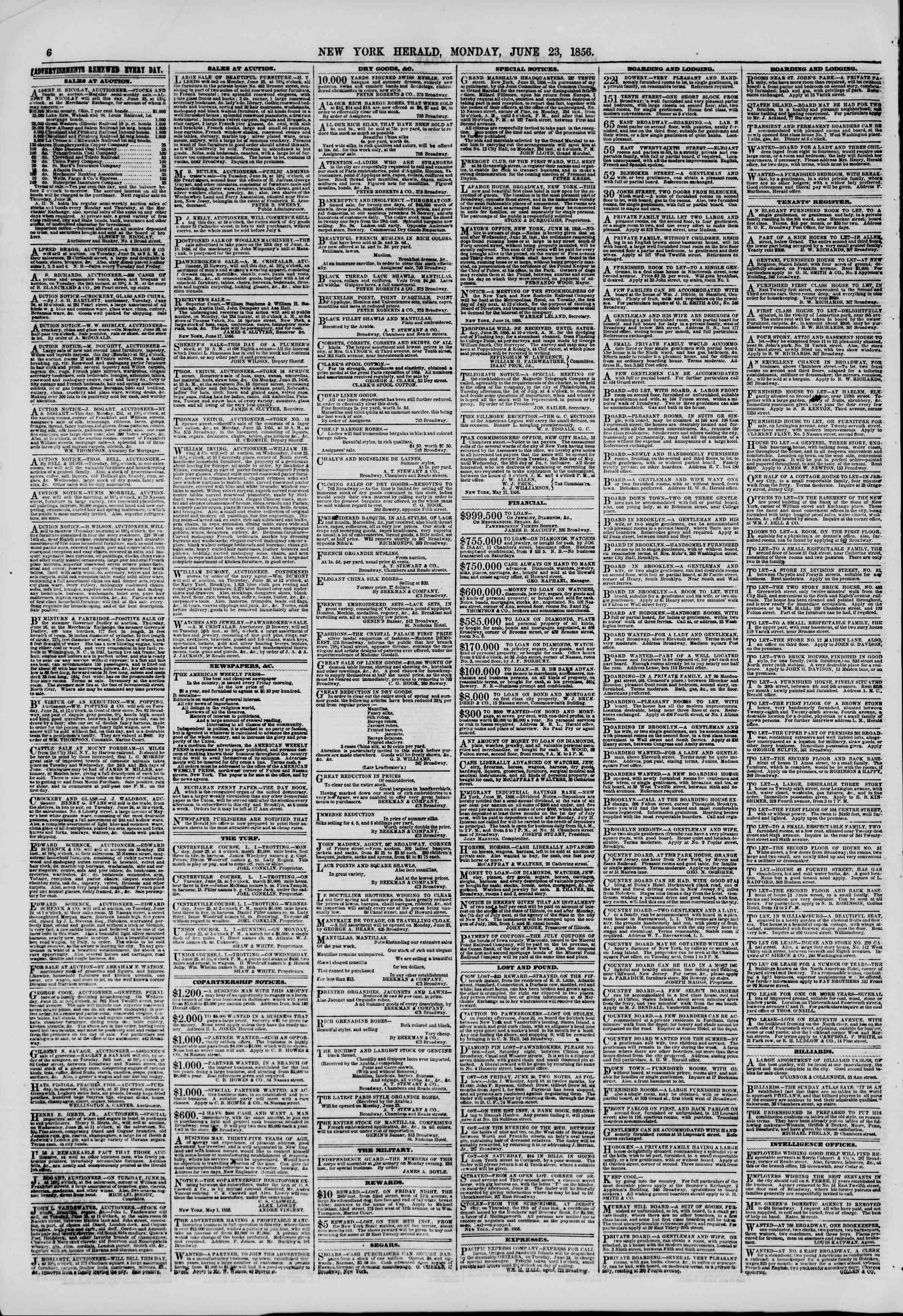 Newspaper of The New York Herald dated June 23, 1856 Page 6