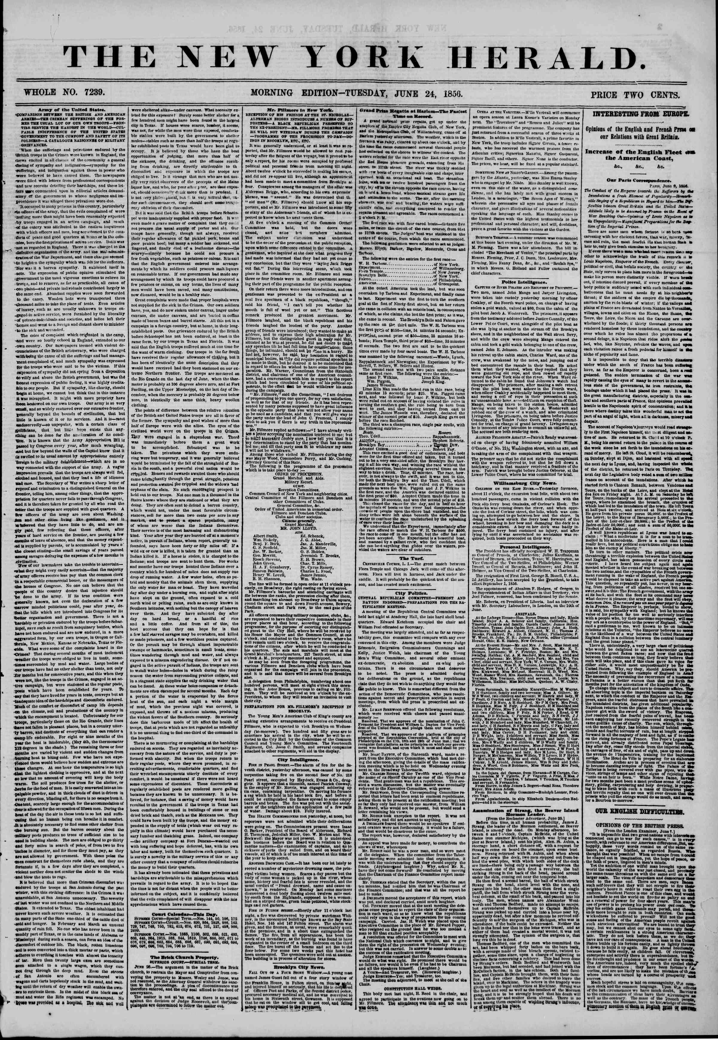 Newspaper of The New York Herald dated June 24, 1856 Page 1