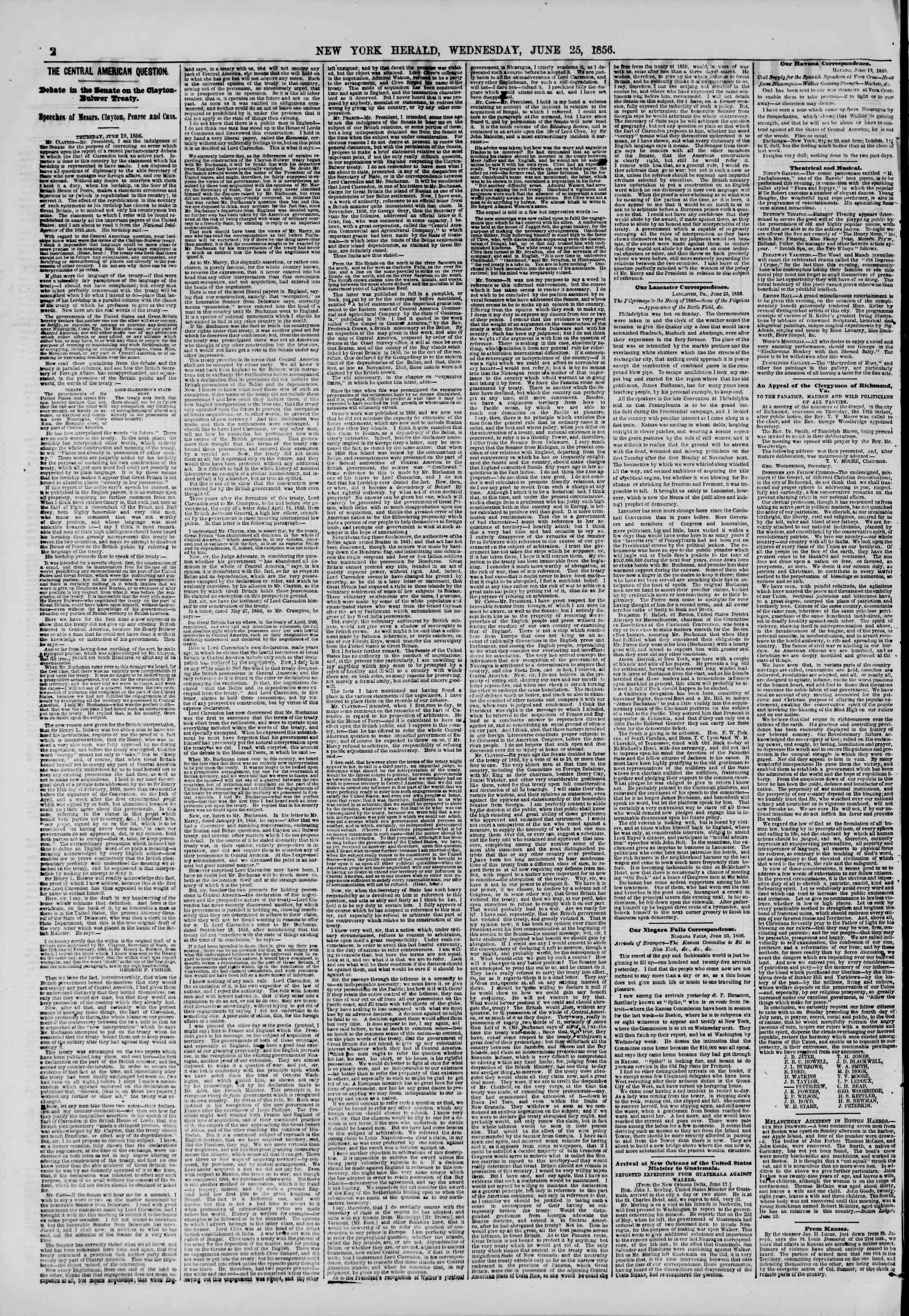 Newspaper of The New York Herald dated June 25, 1856 Page 2