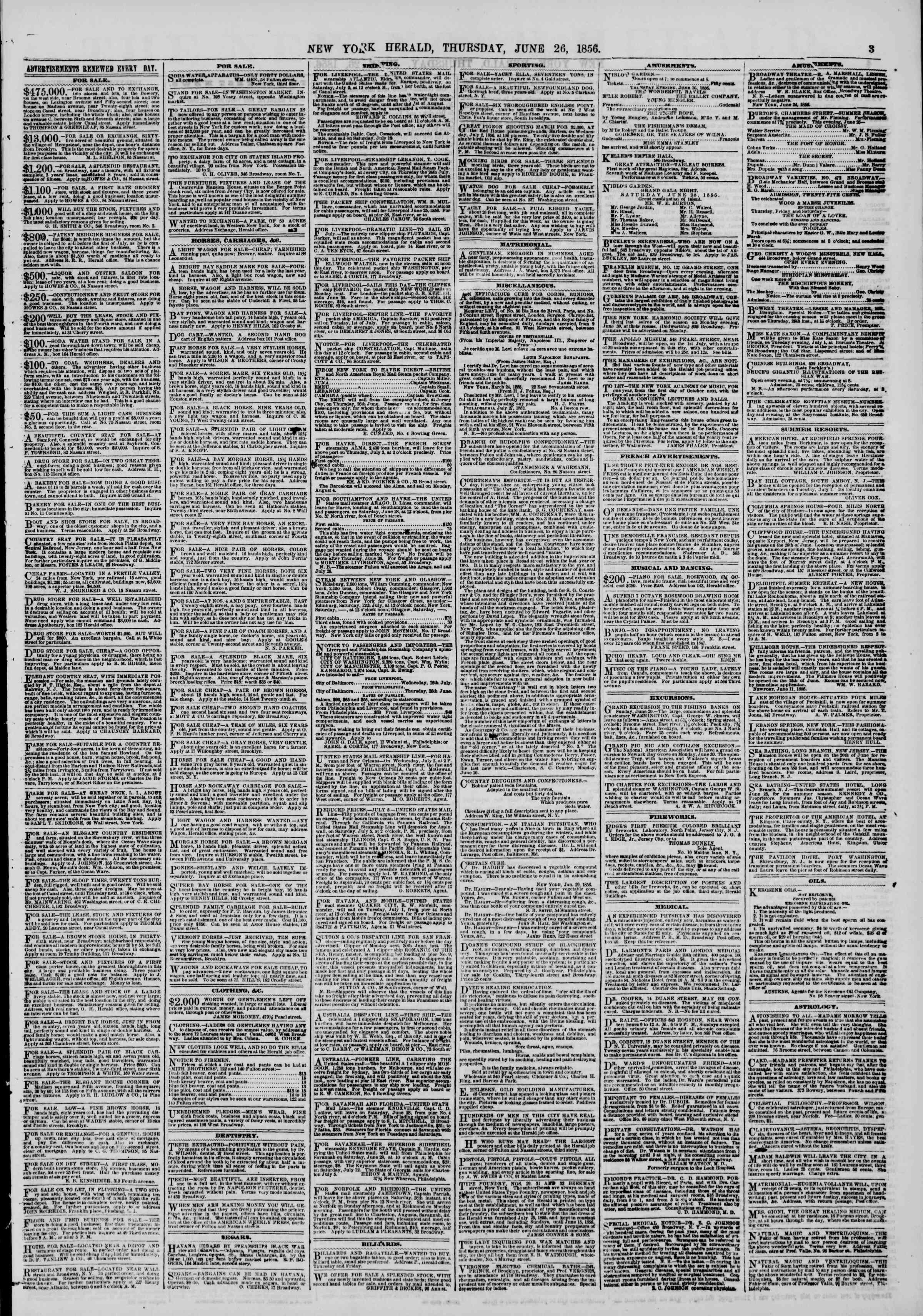 Newspaper of The New York Herald dated June 26, 1856 Page 3