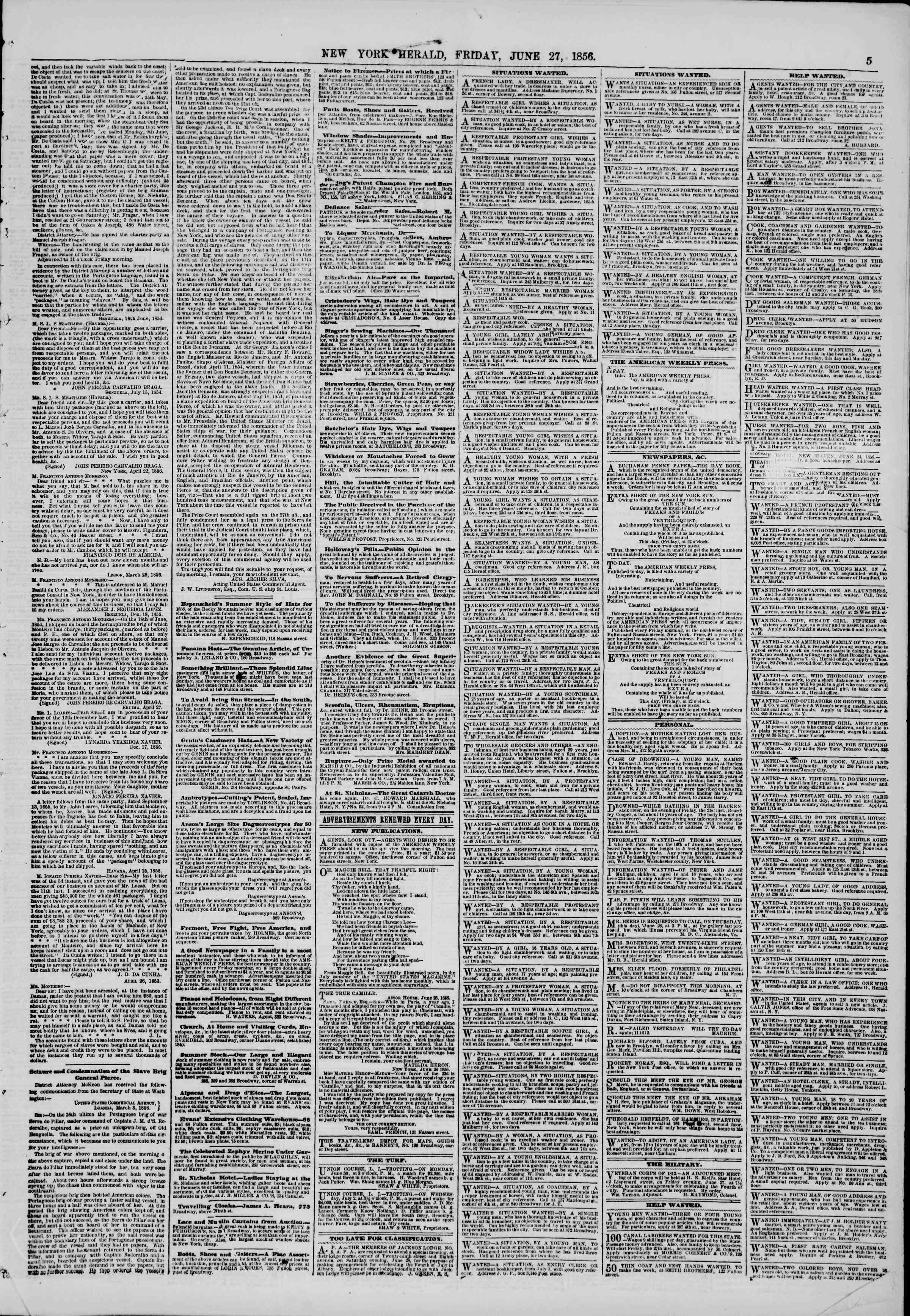 Newspaper of The New York Herald dated June 27, 1856 Page 5