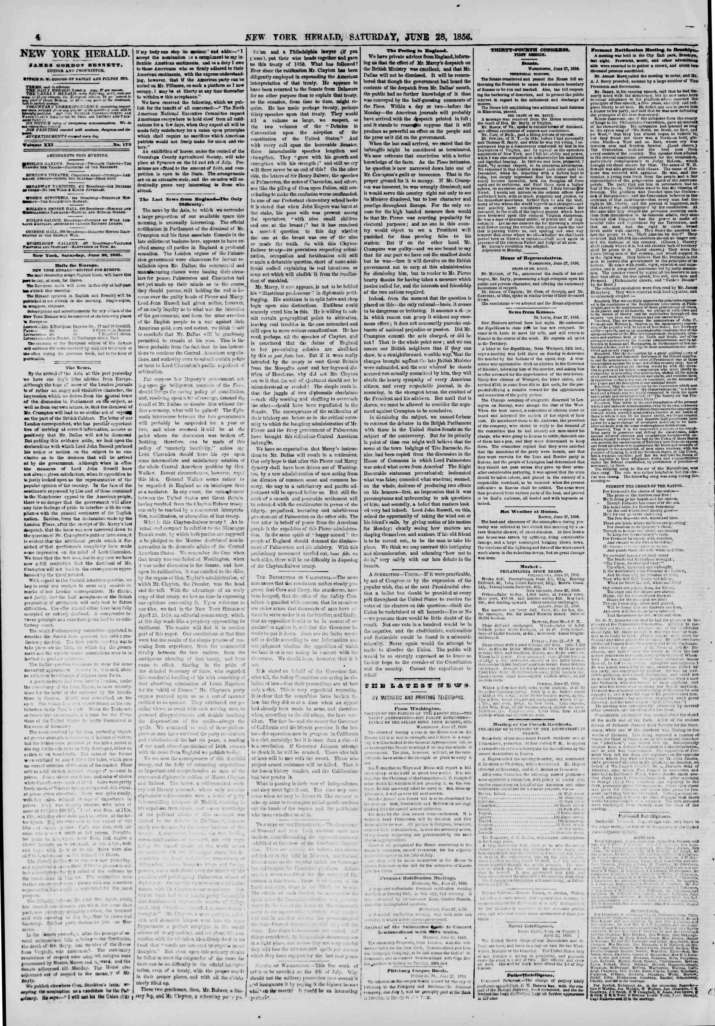 Newspaper of The New York Herald dated June 28, 1856 Page 4