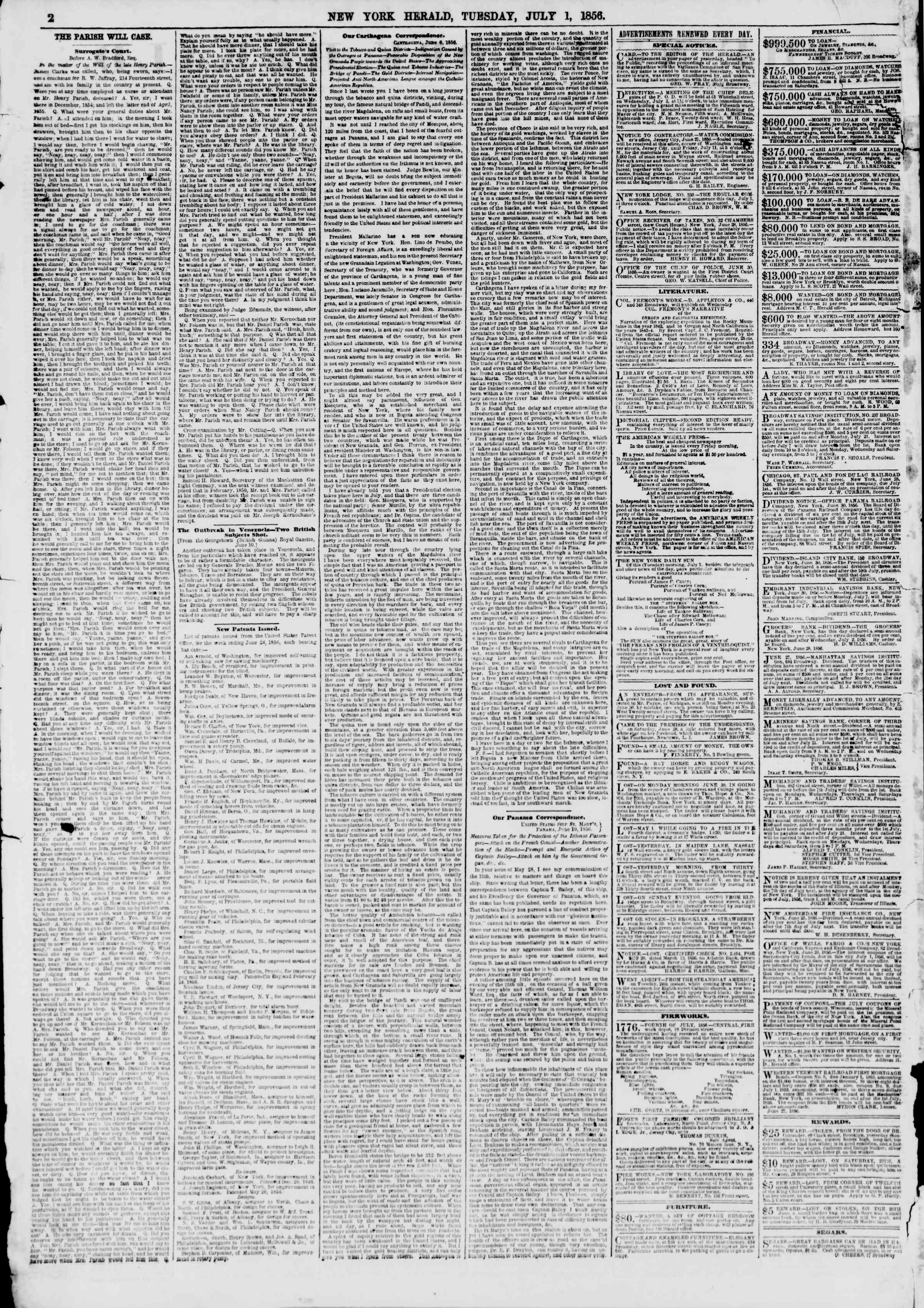 Newspaper of The New York Herald dated July 1, 1856 Page 2