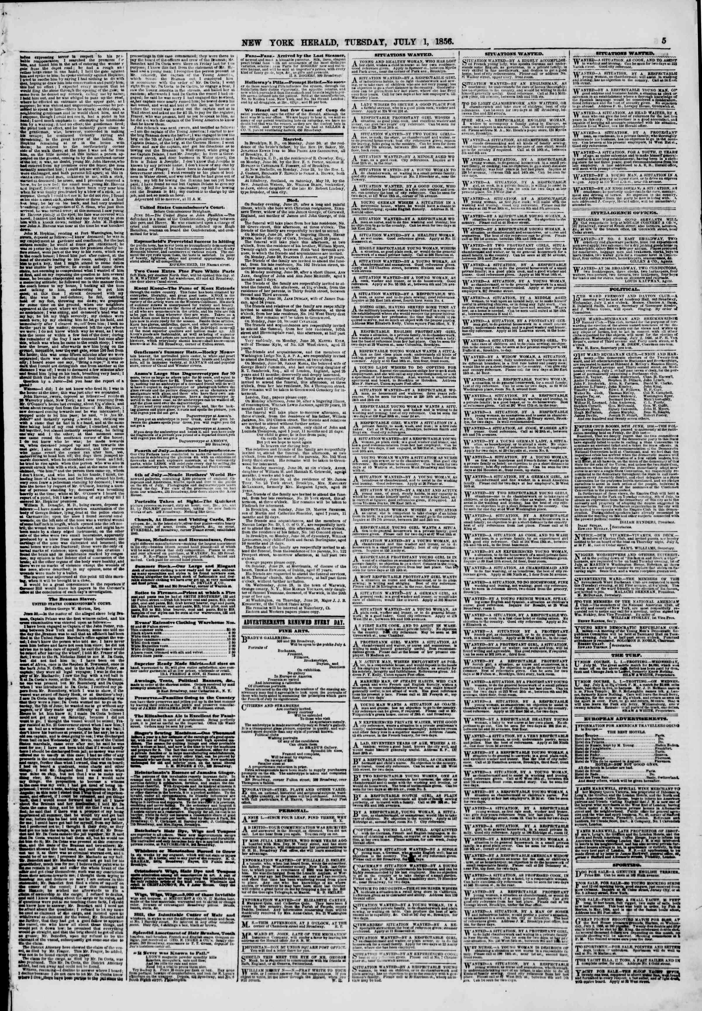 Newspaper of The New York Herald dated July 1, 1856 Page 5