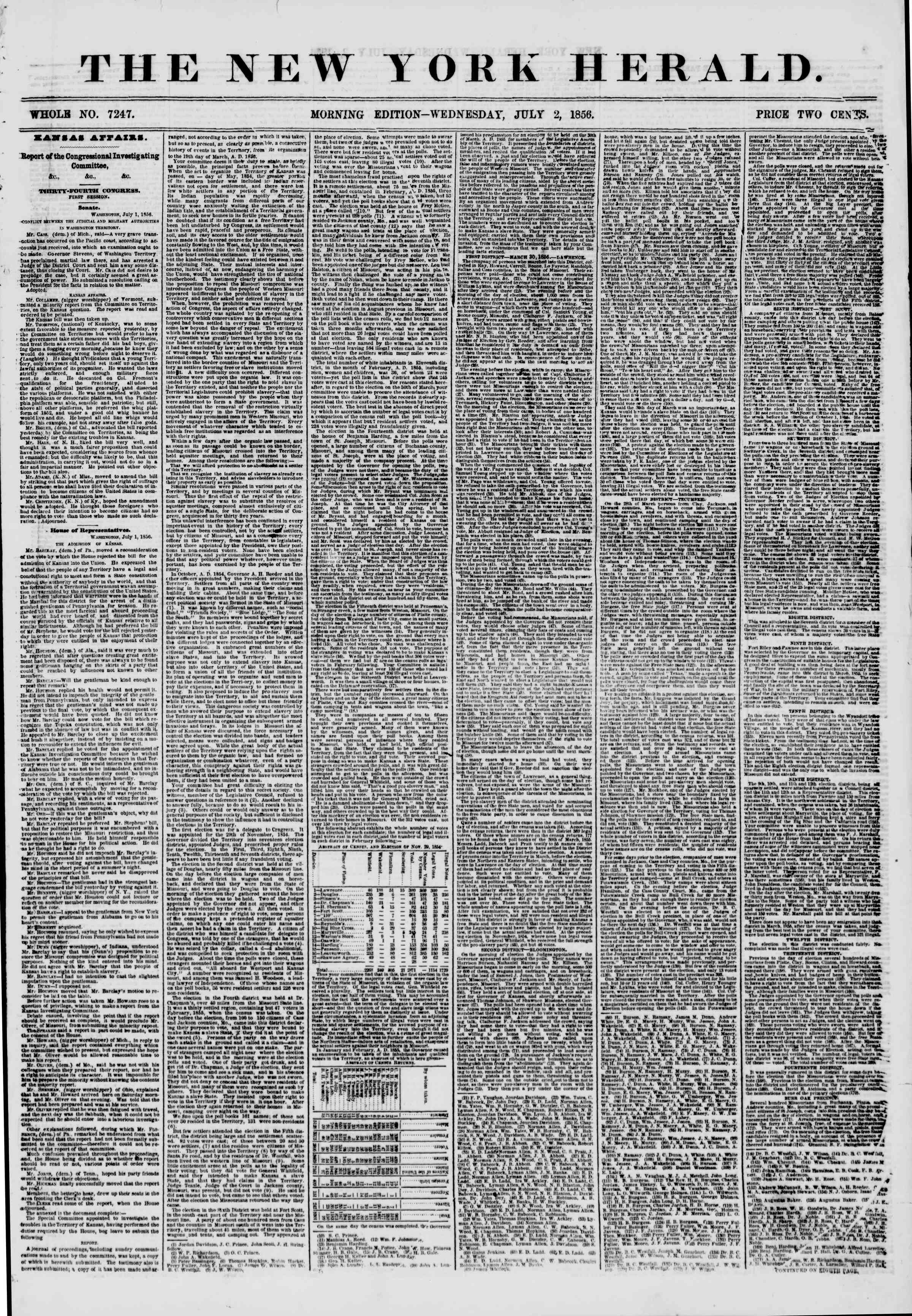 Newspaper of The New York Herald dated July 2, 1856 Page 1