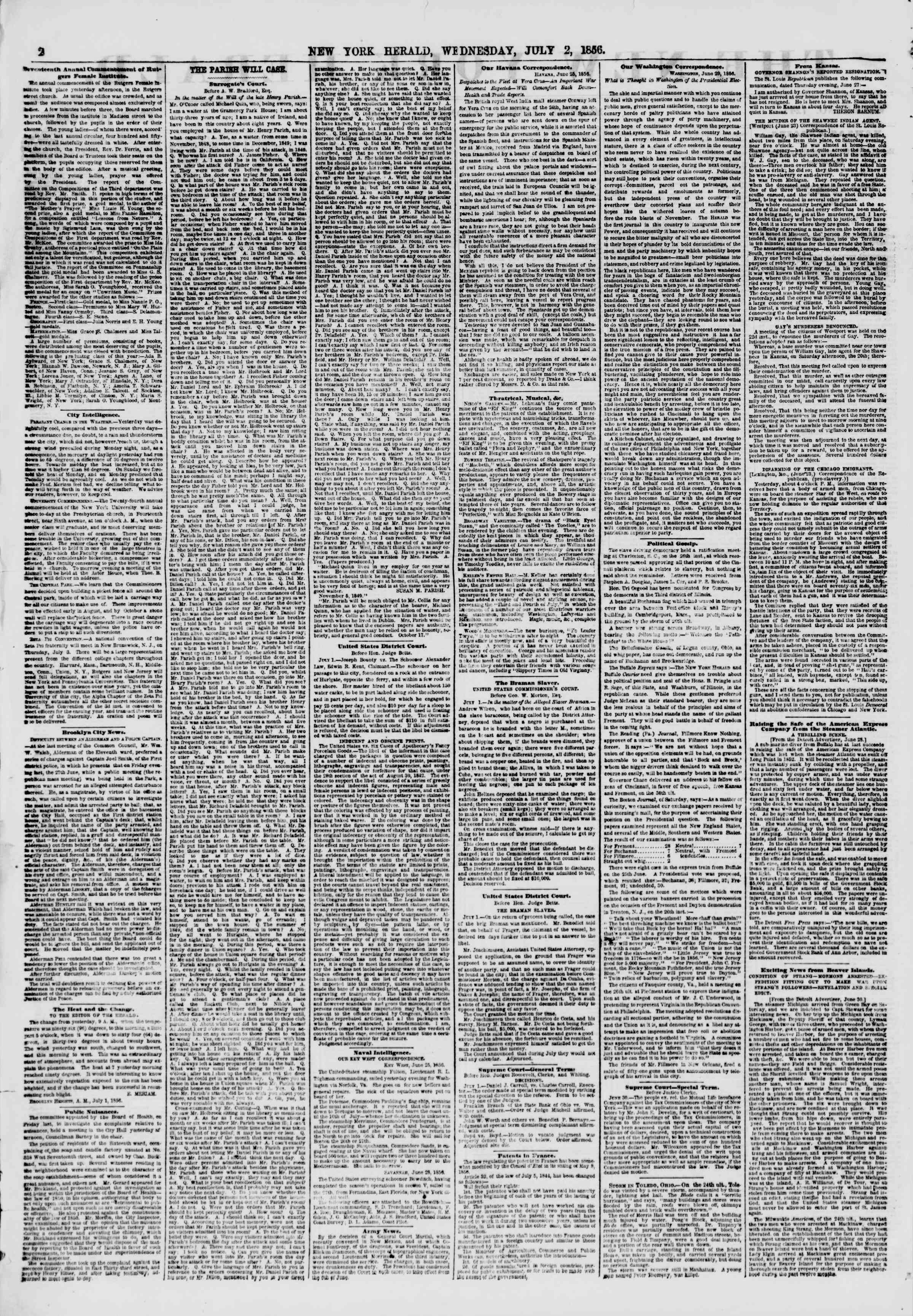 Newspaper of The New York Herald dated July 2, 1856 Page 2