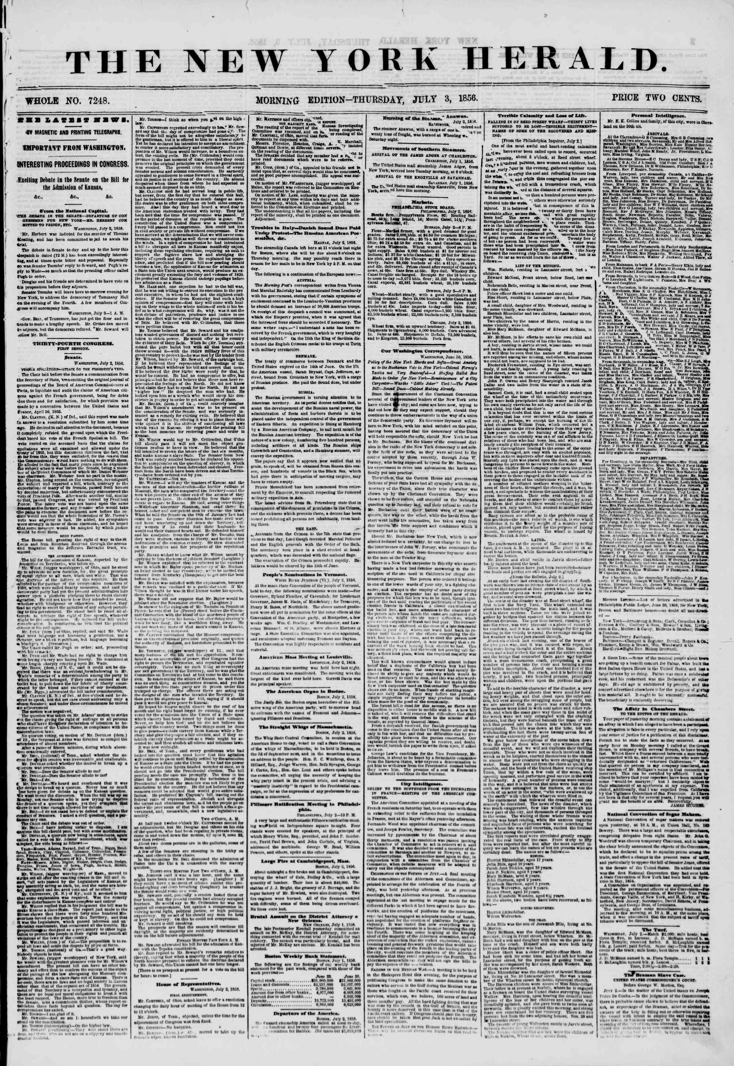 Newspaper of The New York Herald dated July 3, 1856 Page 1